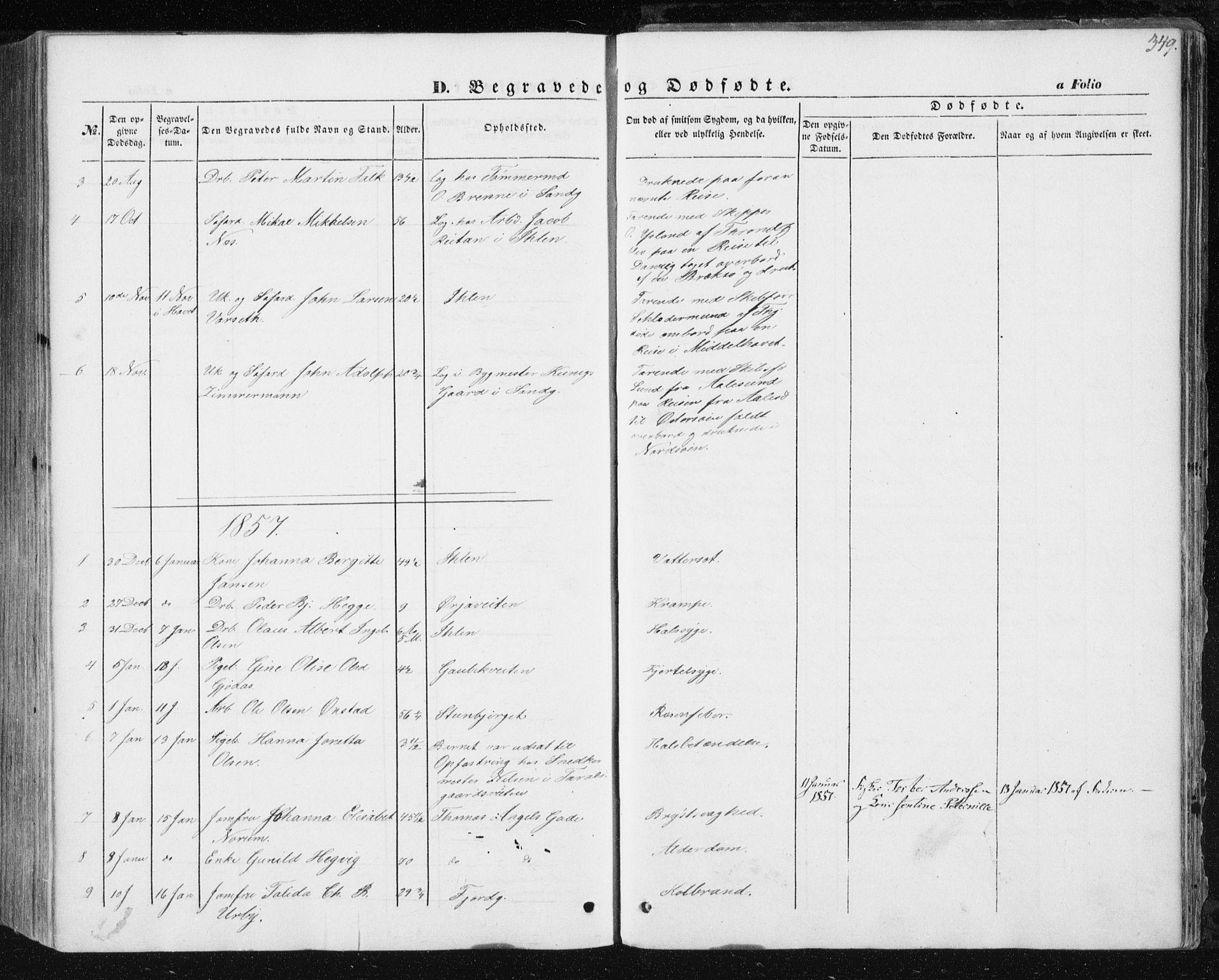 SAT, Ministerialprotokoller, klokkerbøker og fødselsregistre - Sør-Trøndelag, 602/L0112: Ministerialbok nr. 602A10, 1848-1859, s. 349