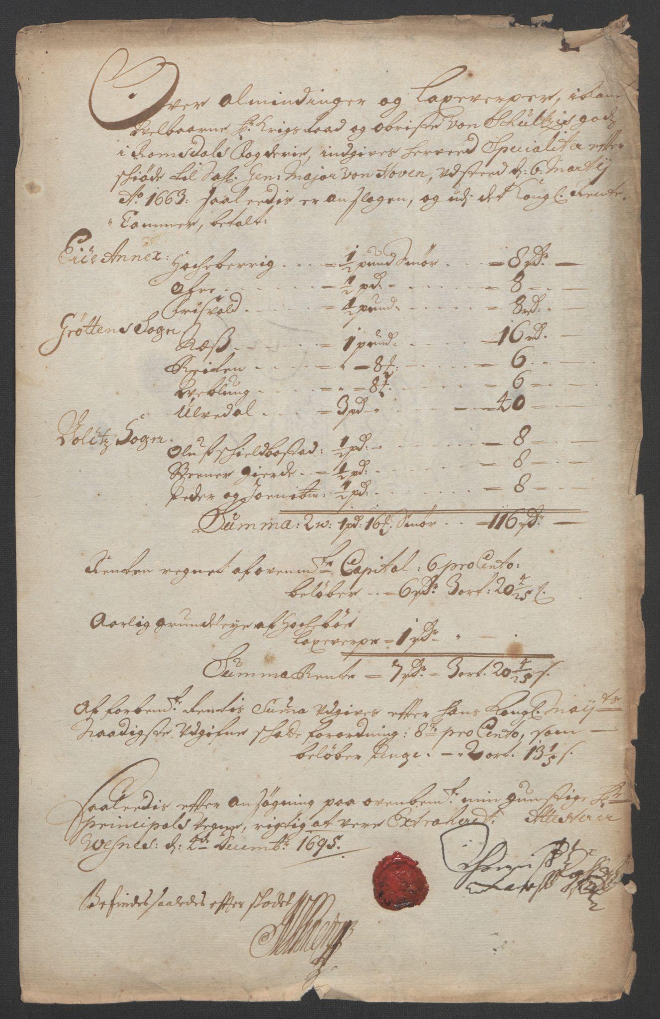 RA, Rentekammeret inntil 1814, Reviderte regnskaper, Fogderegnskap, R55/L3652: Fogderegnskap Romsdal, 1695-1696, s. 67