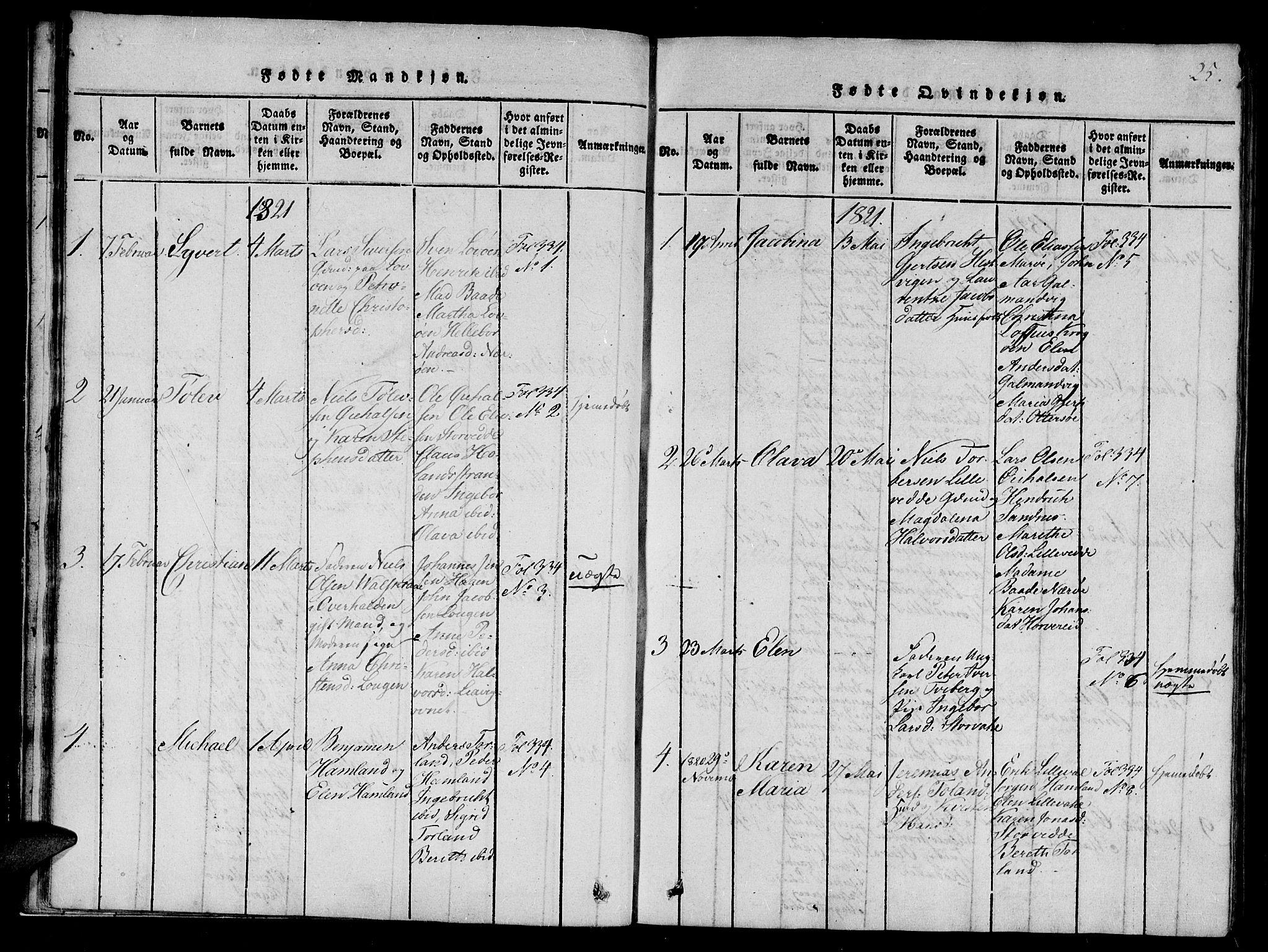 SAT, Ministerialprotokoller, klokkerbøker og fødselsregistre - Nord-Trøndelag, 784/L0667: Ministerialbok nr. 784A03 /1, 1816-1829, s. 25
