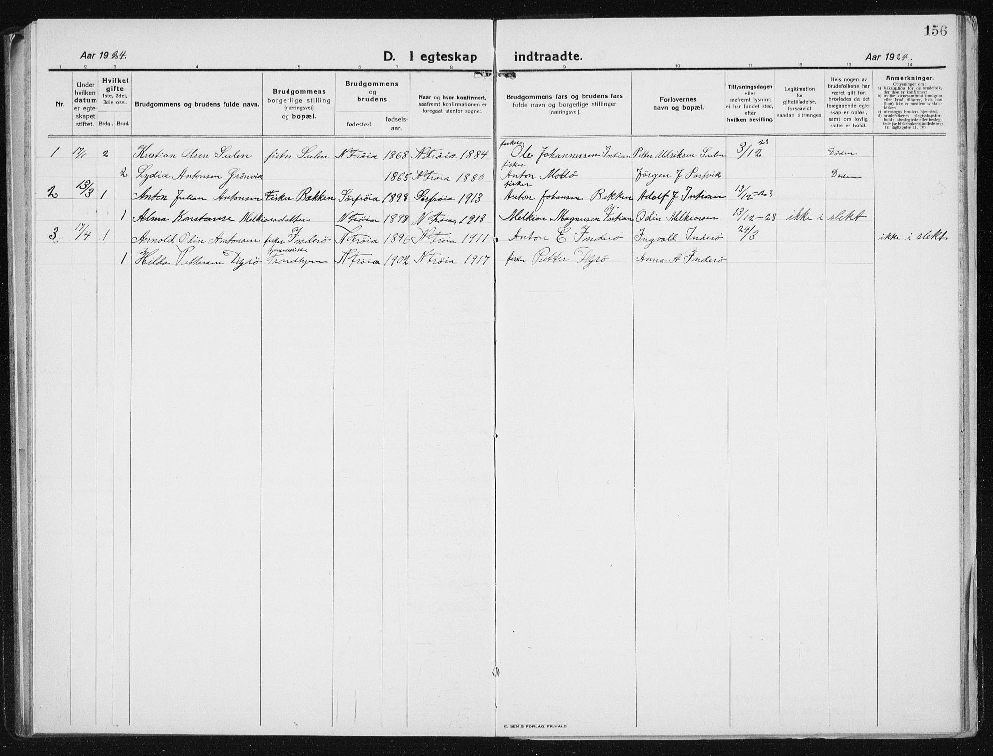 SAT, Ministerialprotokoller, klokkerbøker og fødselsregistre - Sør-Trøndelag, 640/L0589: Klokkerbok nr. 640C06, 1922-1934, s. 156