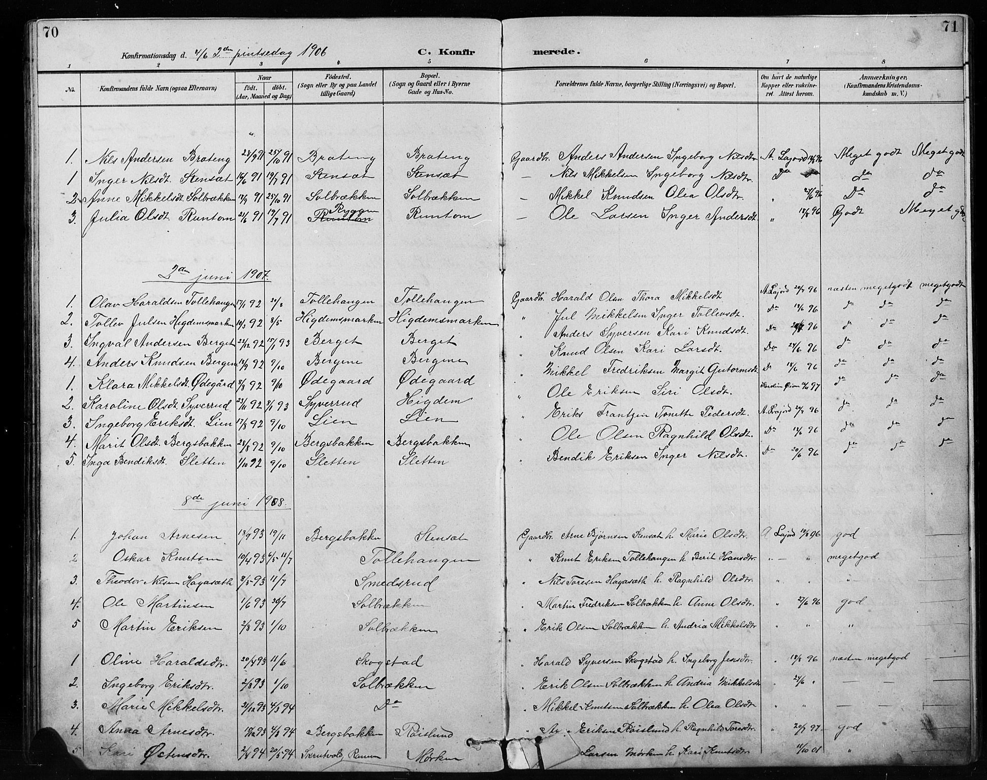SAH, Etnedal prestekontor, H/Ha/Hab/Habb/L0001: Klokkerbok nr. II 1, 1894-1911, s. 70-71