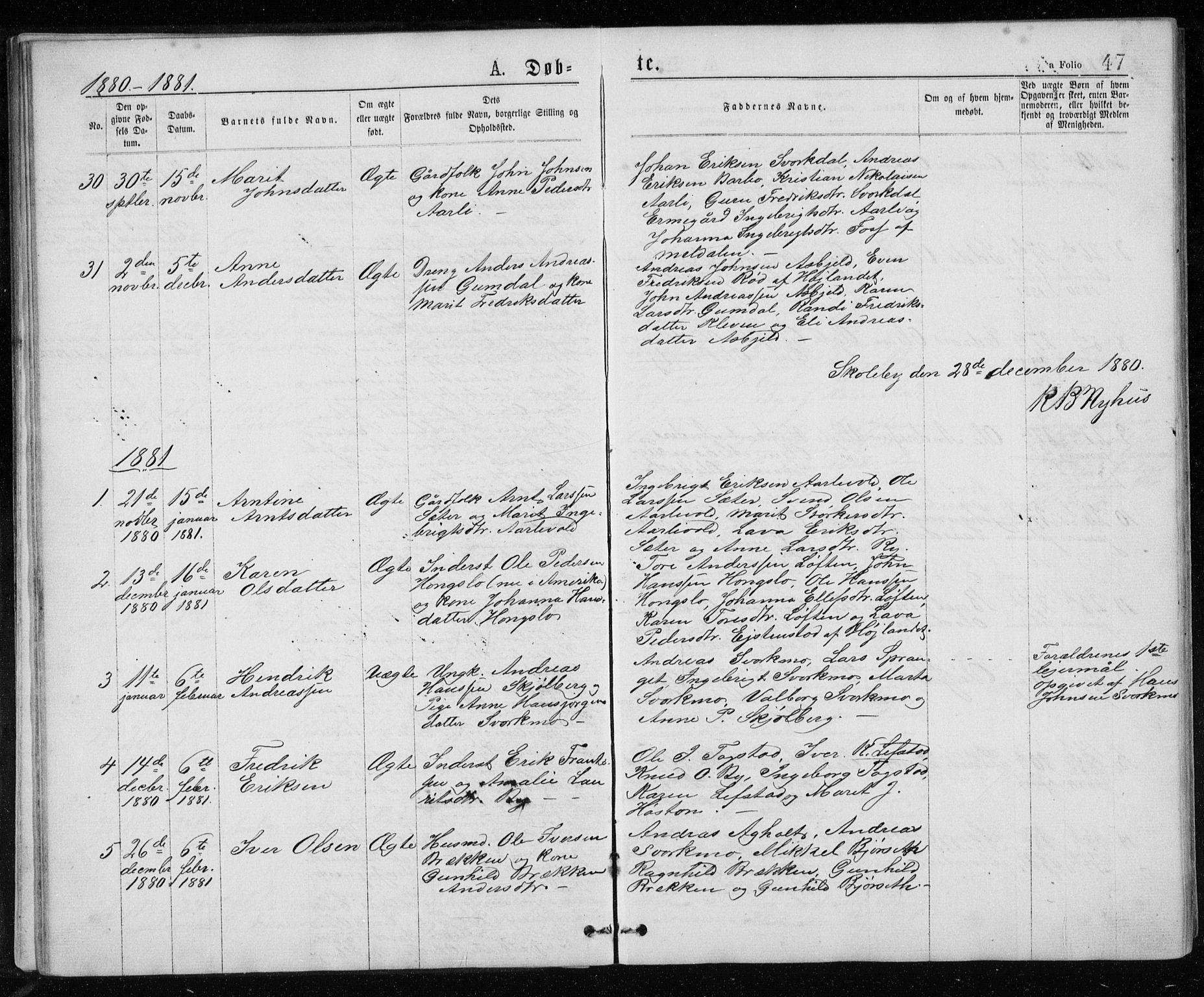 SAT, Ministerialprotokoller, klokkerbøker og fødselsregistre - Sør-Trøndelag, 671/L0843: Klokkerbok nr. 671C02, 1873-1892, s. 47