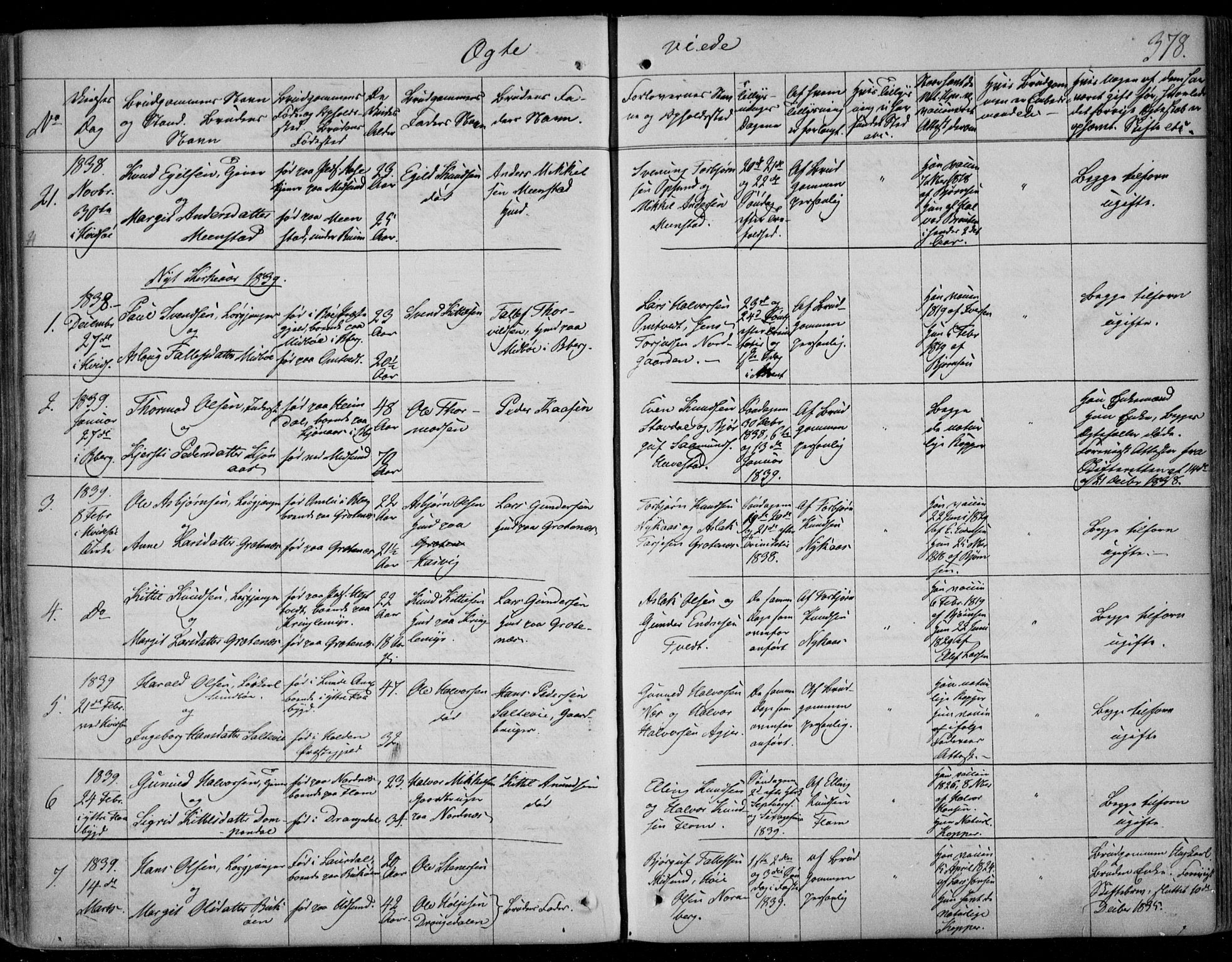 SAKO, Kviteseid kirkebøker, F/Fa/L0006: Ministerialbok nr. I 6, 1836-1858, s. 378