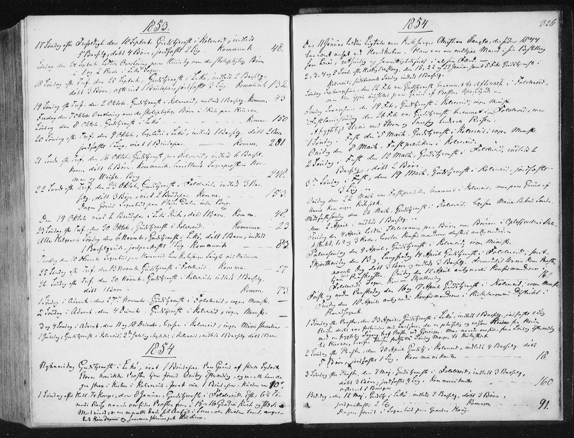 SAT, Ministerialprotokoller, klokkerbøker og fødselsregistre - Nord-Trøndelag, 780/L0640: Ministerialbok nr. 780A05, 1845-1856, s. 326