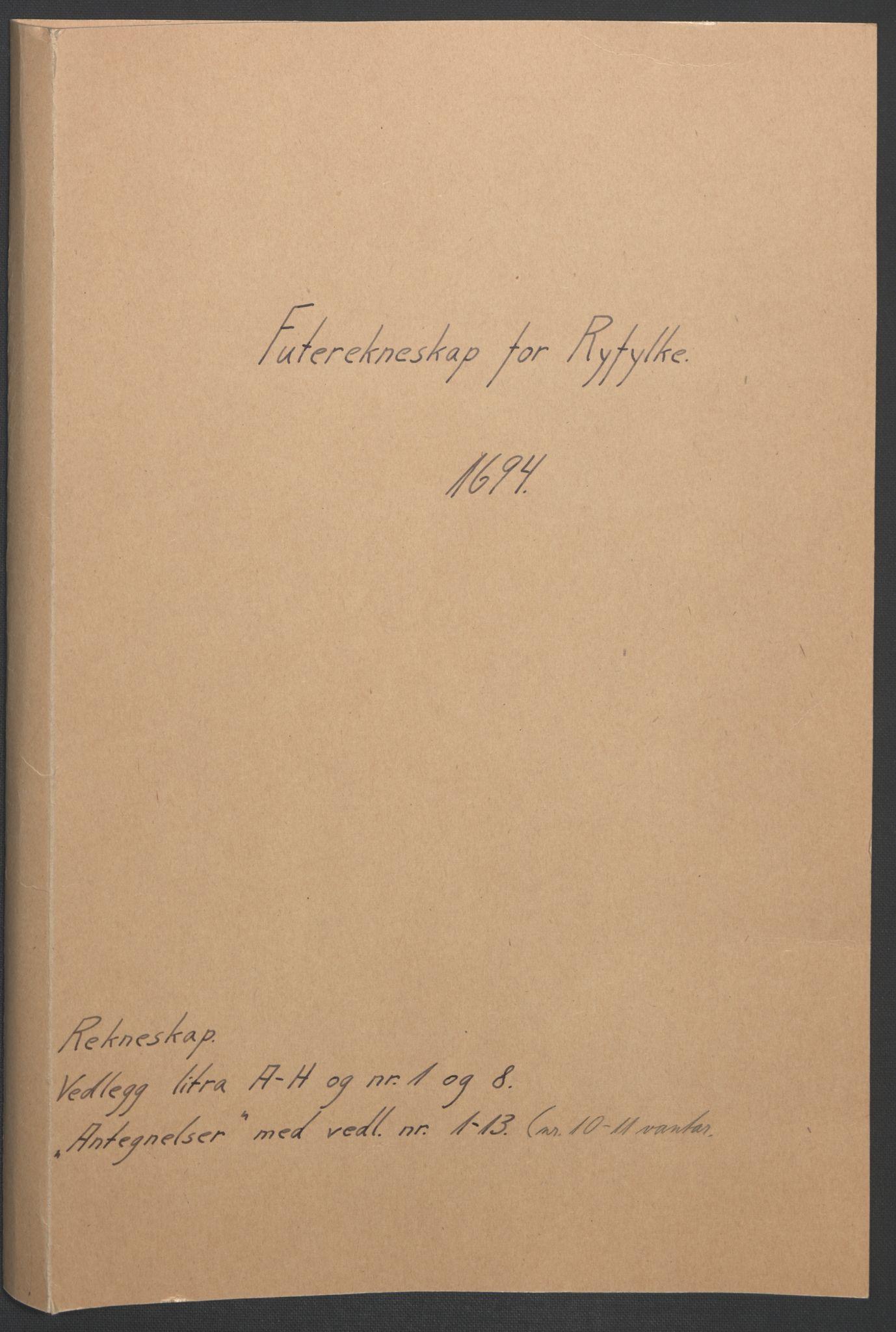 RA, Rentekammeret inntil 1814, Reviderte regnskaper, Fogderegnskap, R47/L2857: Fogderegnskap Ryfylke, 1694-1696, s. 3