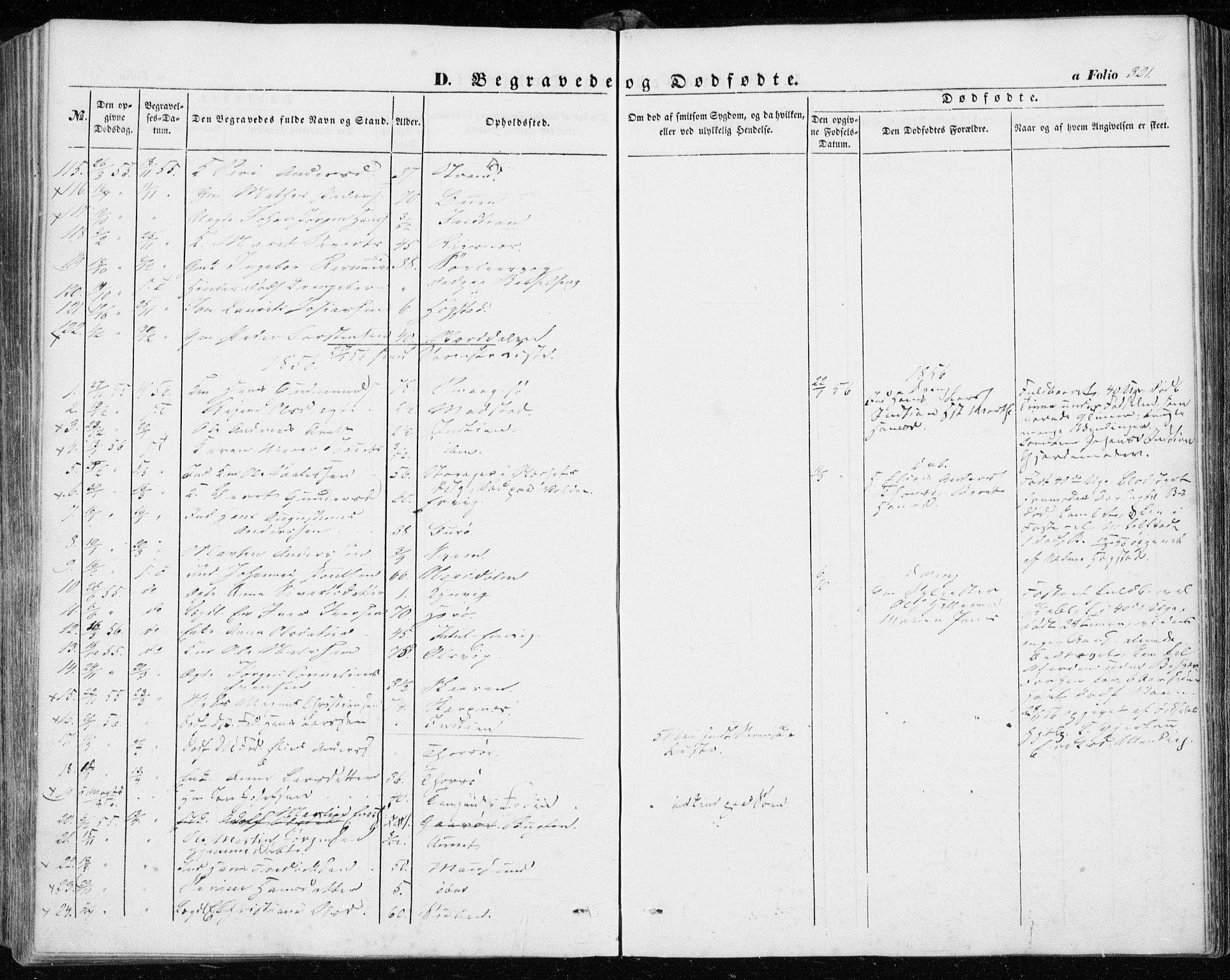 SAT, Ministerialprotokoller, klokkerbøker og fødselsregistre - Sør-Trøndelag, 634/L0530: Ministerialbok nr. 634A06, 1852-1860, s. 321