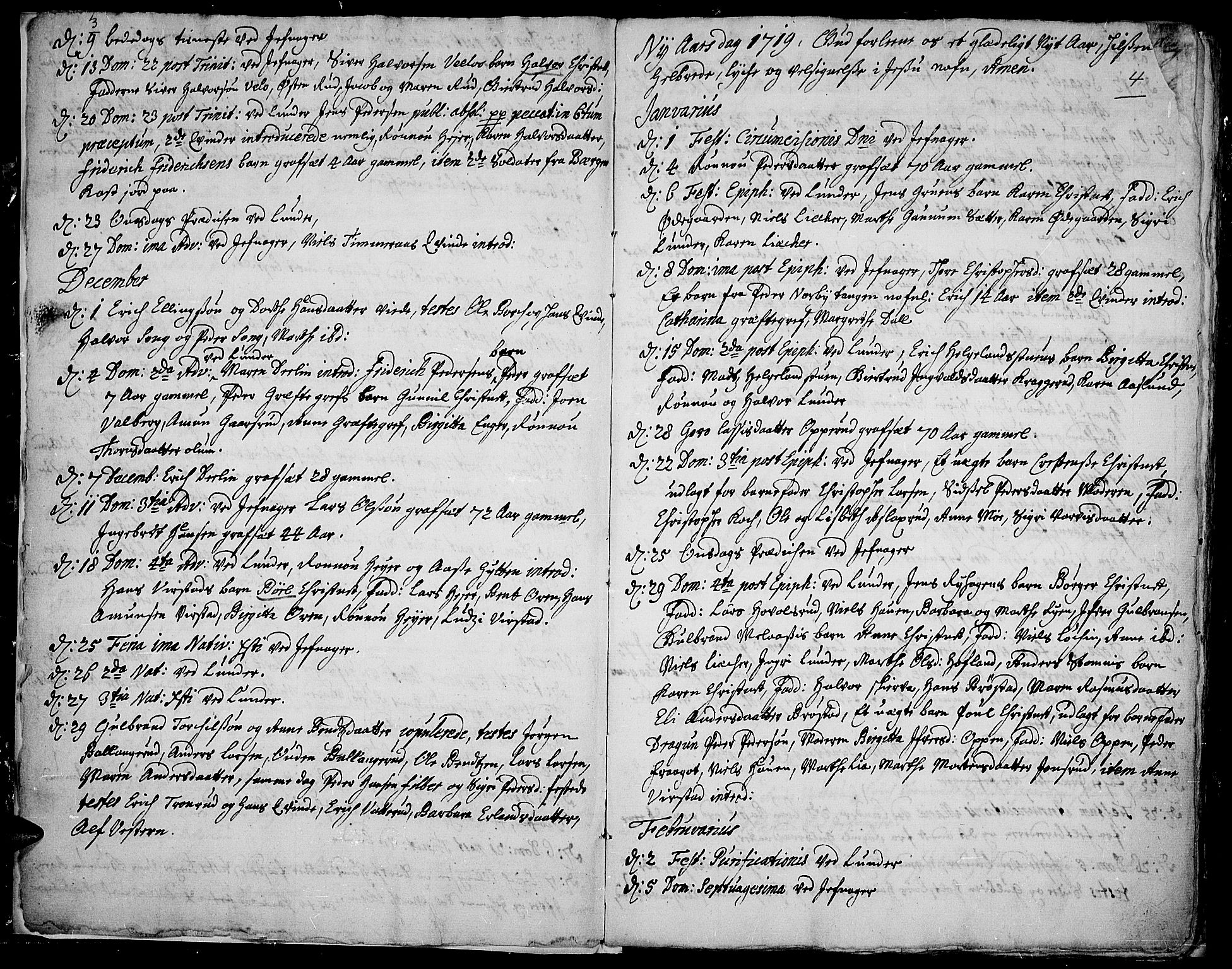 SAH, Jevnaker prestekontor, Ministerialbok nr. 1, 1718-1725, s. 3-4