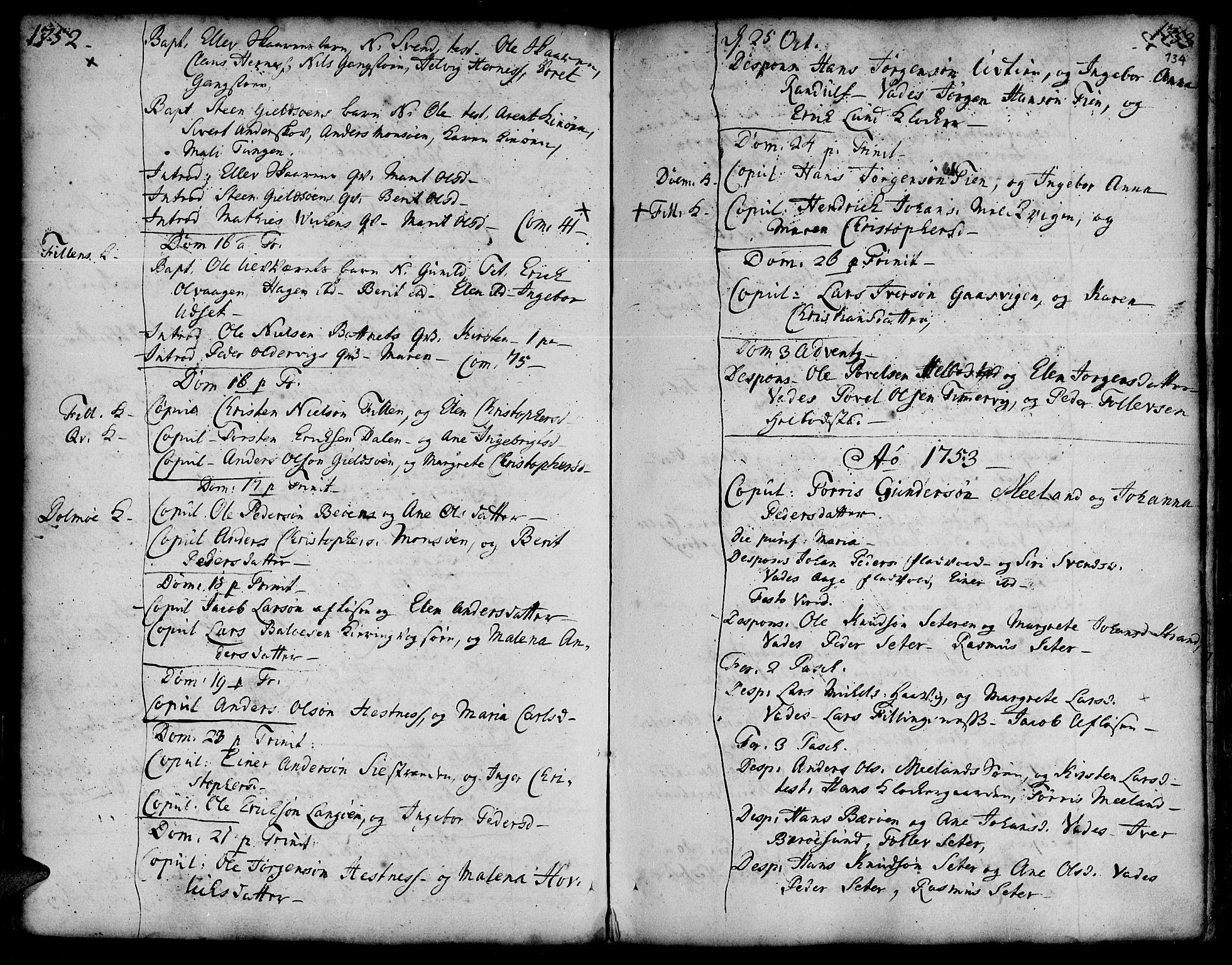 SAT, Ministerialprotokoller, klokkerbøker og fødselsregistre - Sør-Trøndelag, 634/L0525: Ministerialbok nr. 634A01, 1736-1775, s. 134