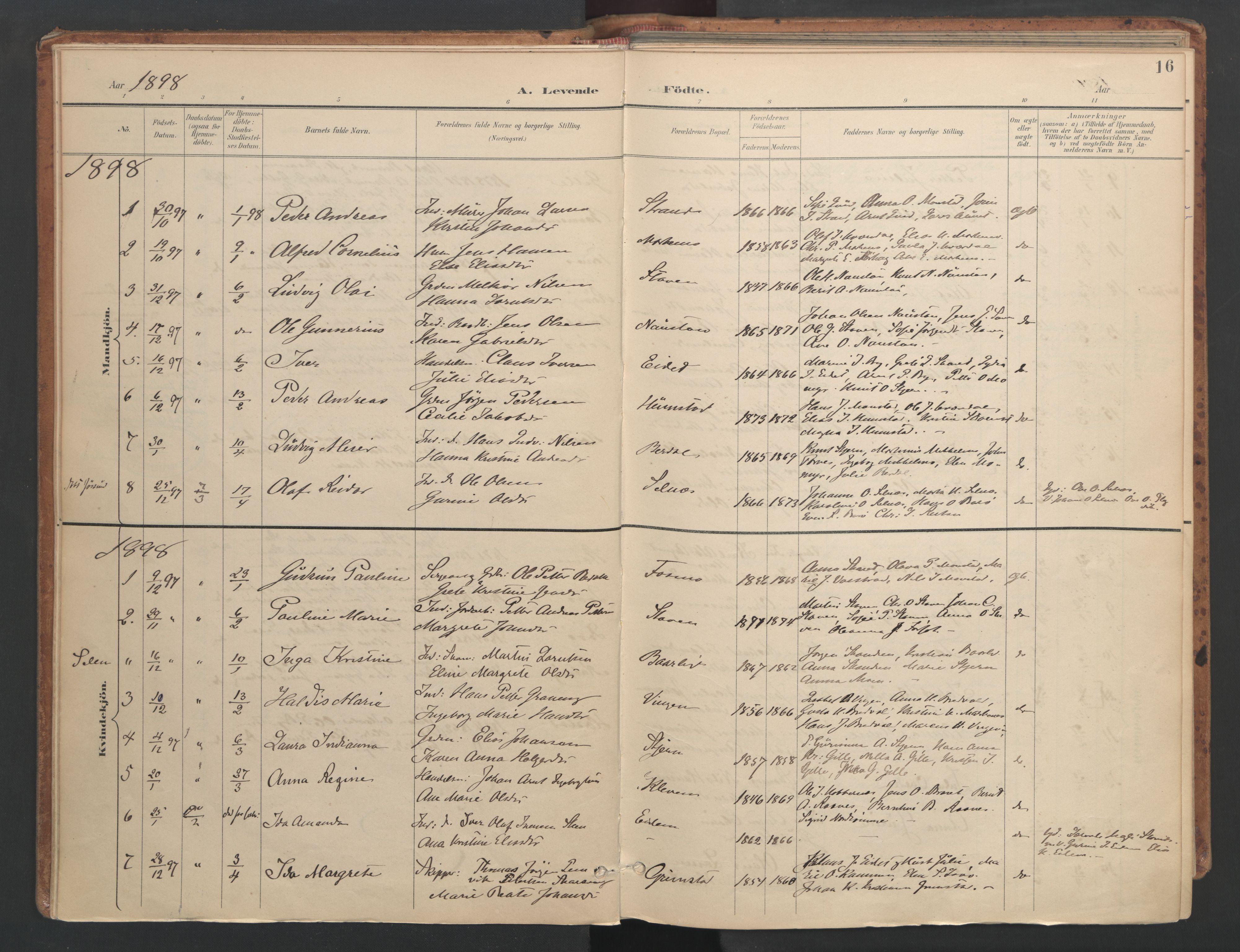 SAT, Ministerialprotokoller, klokkerbøker og fødselsregistre - Sør-Trøndelag, 655/L0681: Ministerialbok nr. 655A10, 1895-1907, s. 16