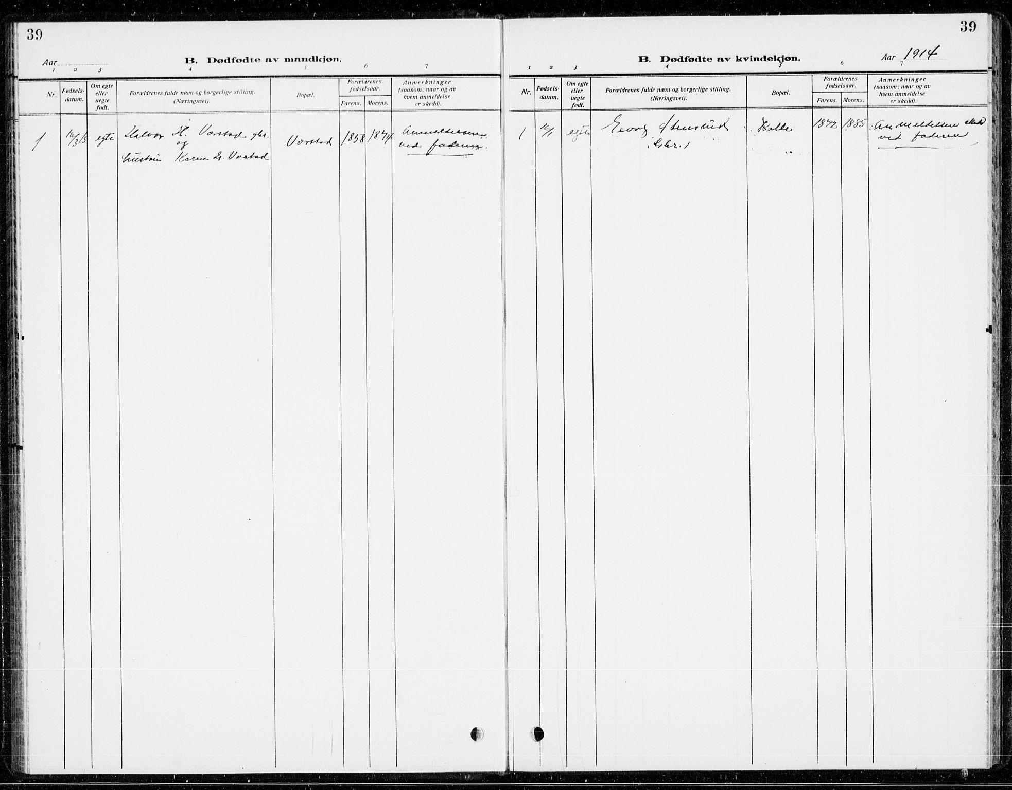 SAKO, Holla kirkebøker, G/Gb/L0003: Klokkerbok nr. II 3, 1914-1941, s. 39