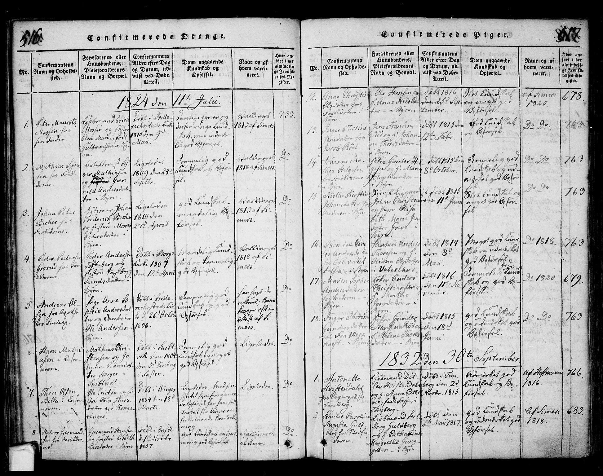 SAO, Fredrikstad prestekontor Kirkebøker, F/Fa/L0004: Ministerialbok nr. 4, 1816-1834, s. 516-517