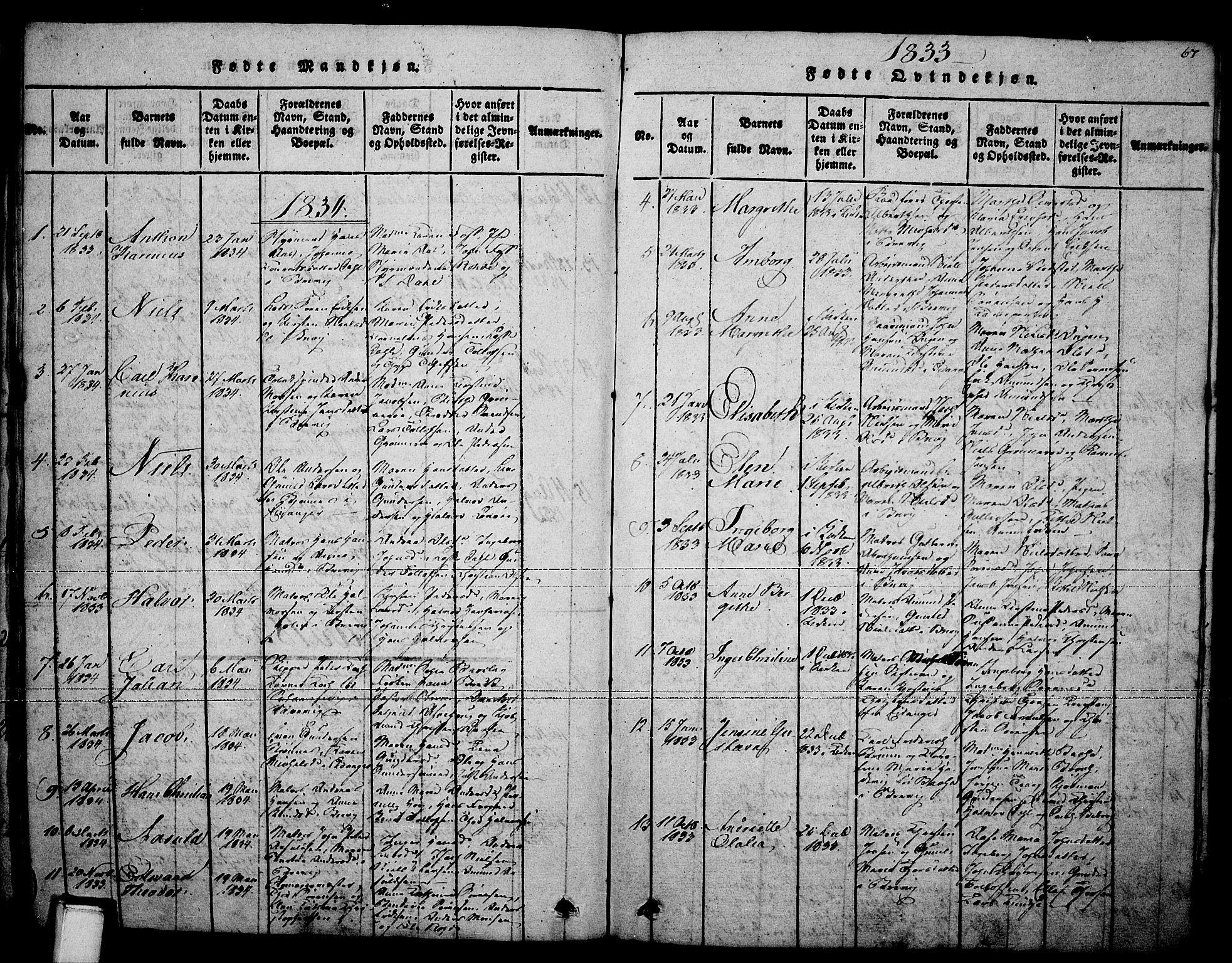 SAKO, Brevik kirkebøker, F/Fa/L0004: Ministerialbok nr. 4, 1814-1846, s. 67