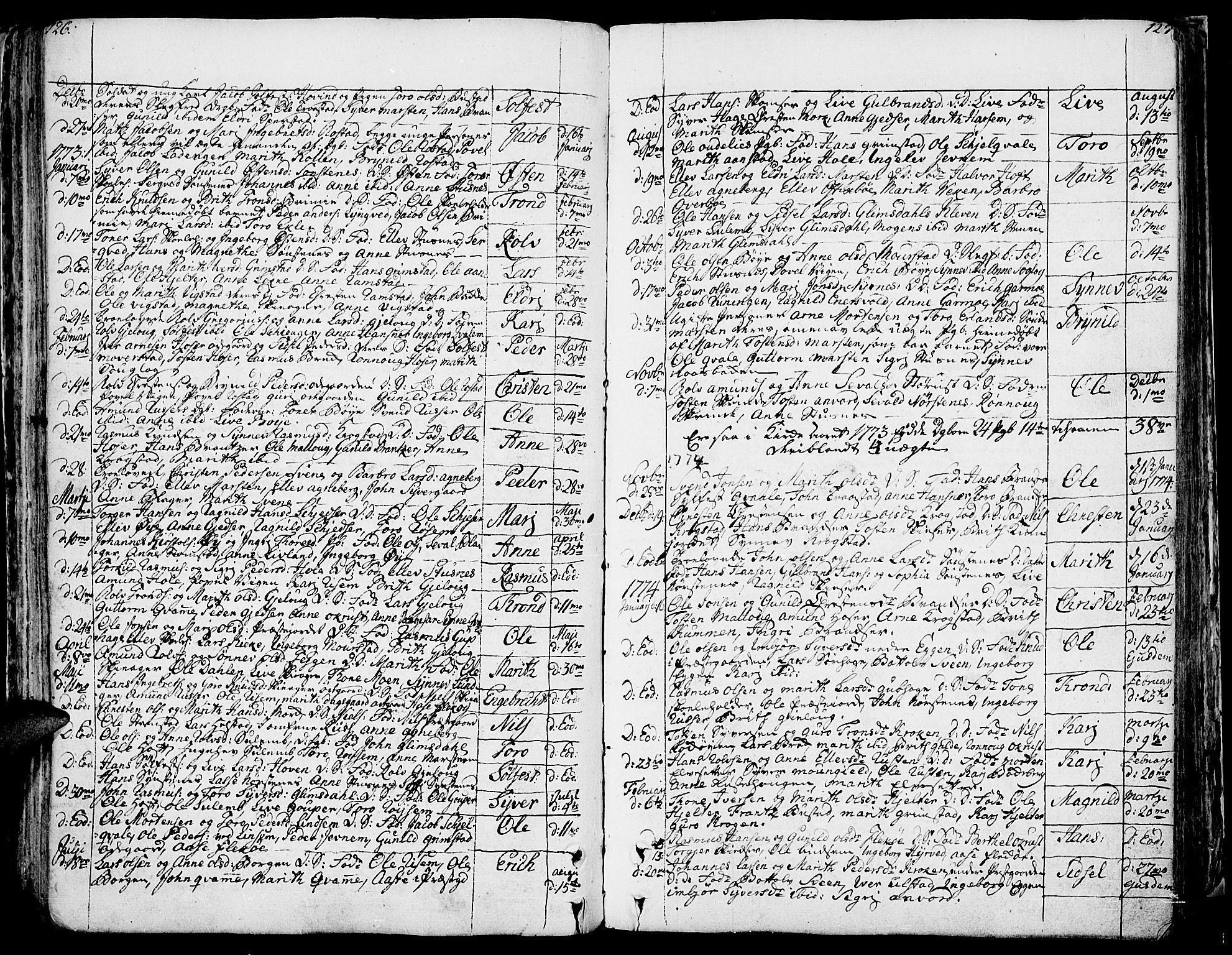 SAH, Lom prestekontor, K/L0002: Ministerialbok nr. 2, 1749-1801, s. 126-127