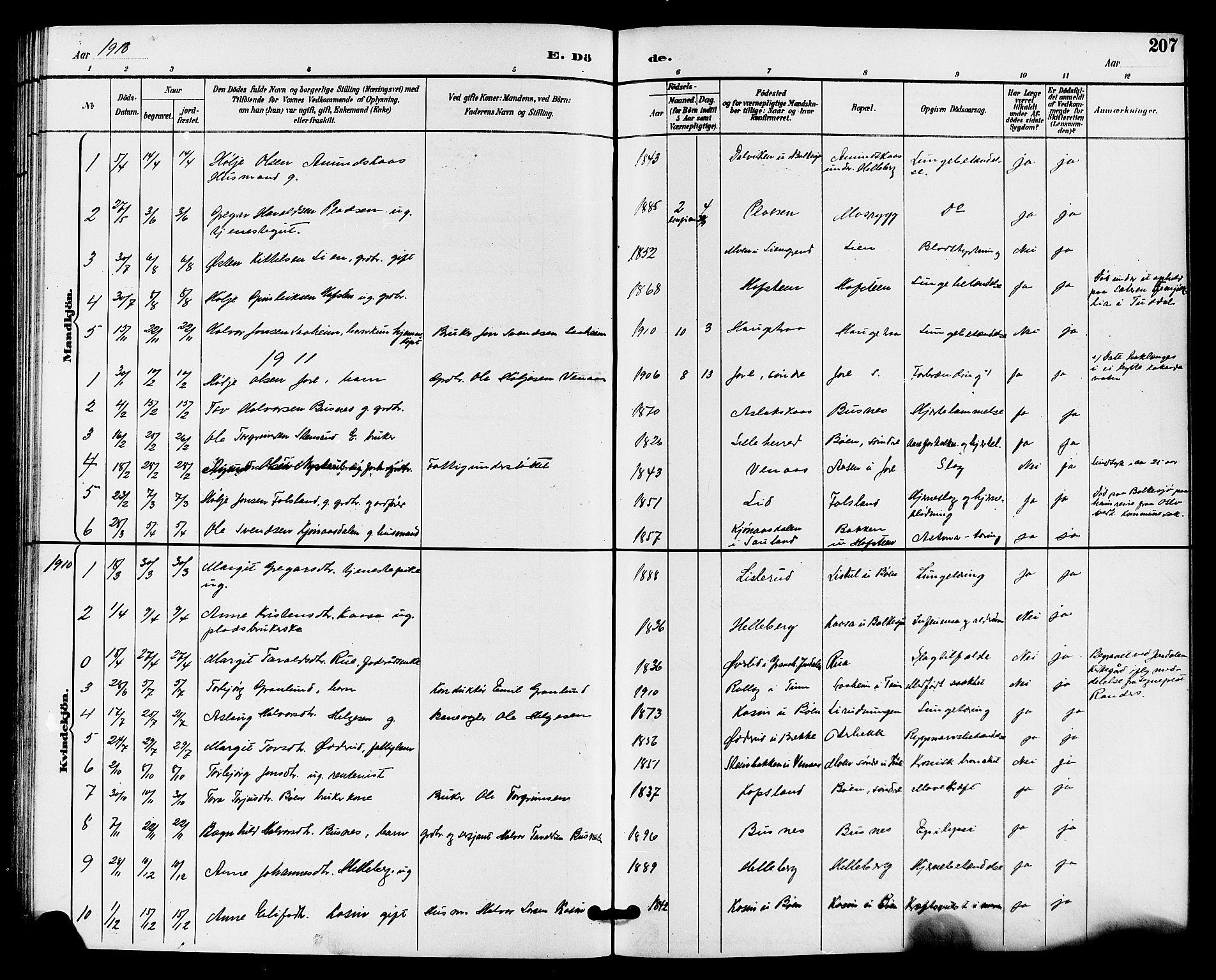 SAKO, Gransherad kirkebøker, G/Ga/L0003: Klokkerbok nr. I 3, 1887-1915, s. 207