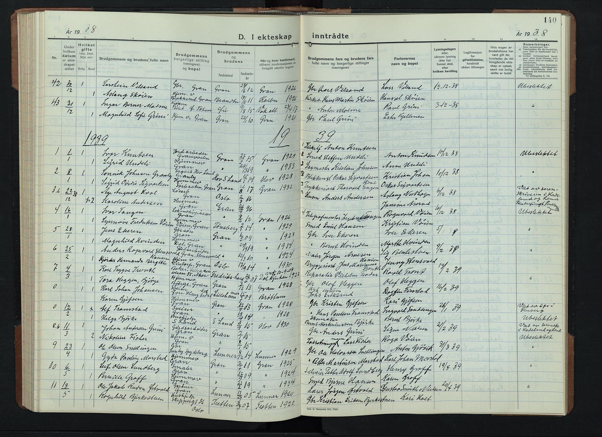SAH, Gran prestekontor, Klokkerbok nr. 9, 1933-1950, s. 140