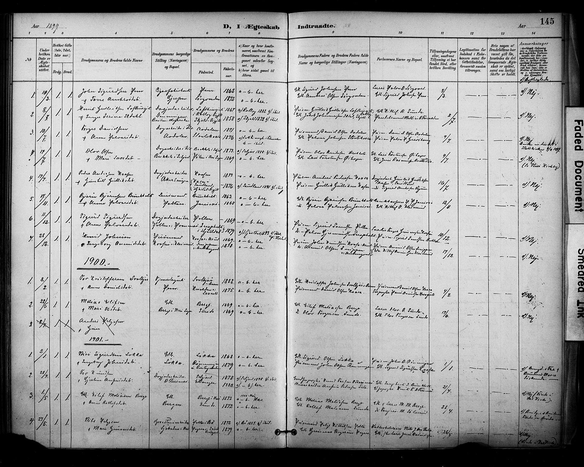 SAKO, Sauherad kirkebøker, F/Fa/L0009: Ministerialbok nr. I 9, 1887-1912, s. 145