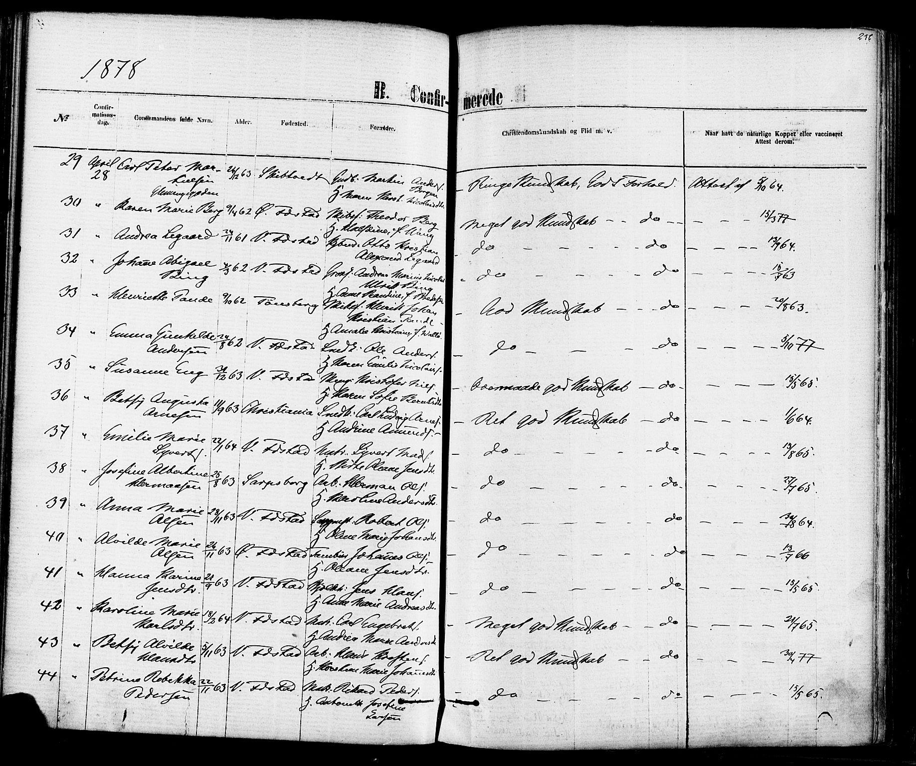 SAO, Vestre Fredrikstad prestekontor Kirkebøker, F/Fa/L0001: Ministerialbok nr. 1, 1871-1878, s. 236