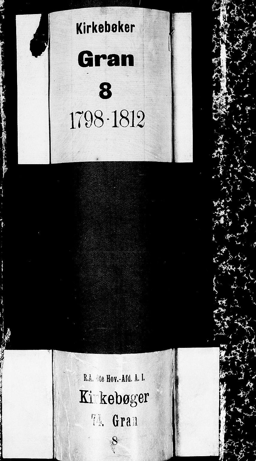 SAH, Gran prestekontor, Ministerialbok nr. 8, 1798-1811