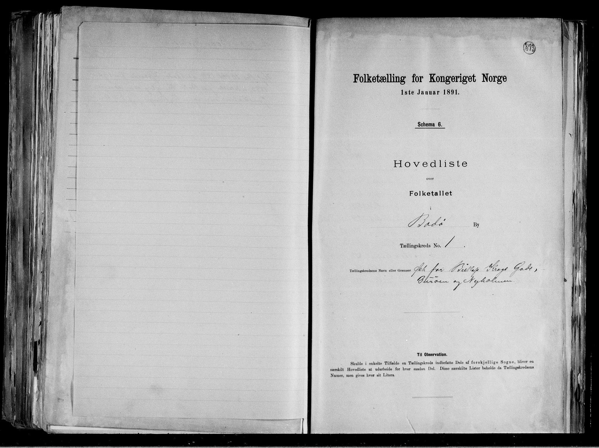 RA, Folketelling 1891 for 1804 Bodø kjøpstad, 1891, s. 6