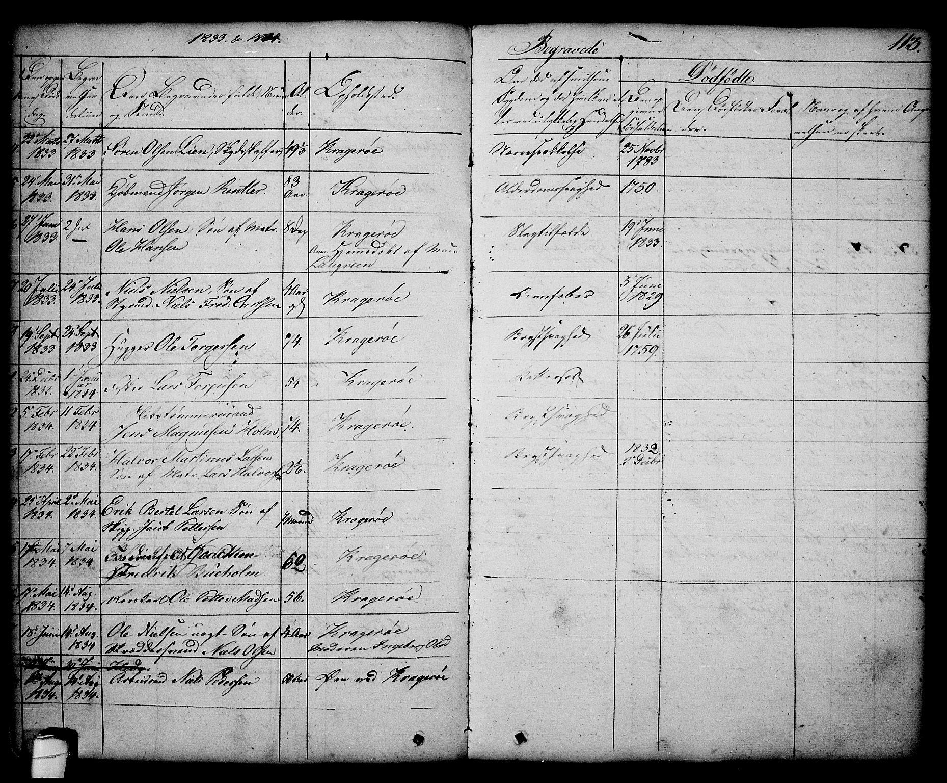 SAKO, Kragerø kirkebøker, G/Ga/L0003: Klokkerbok nr. 3, 1832-1852, s. 113