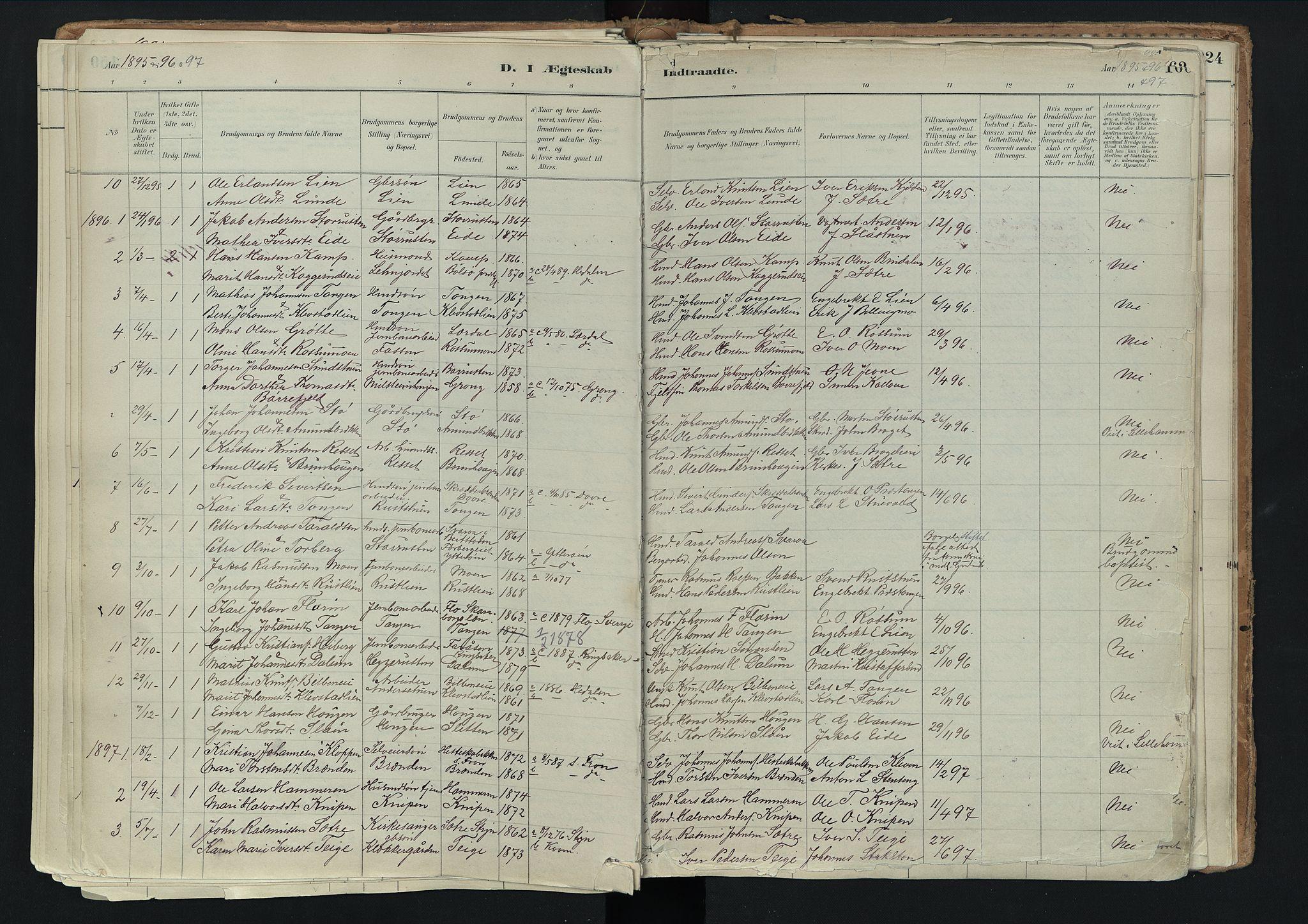SAH, Nord-Fron prestekontor, Ministerialbok nr. 3, 1884-1914, s. 160