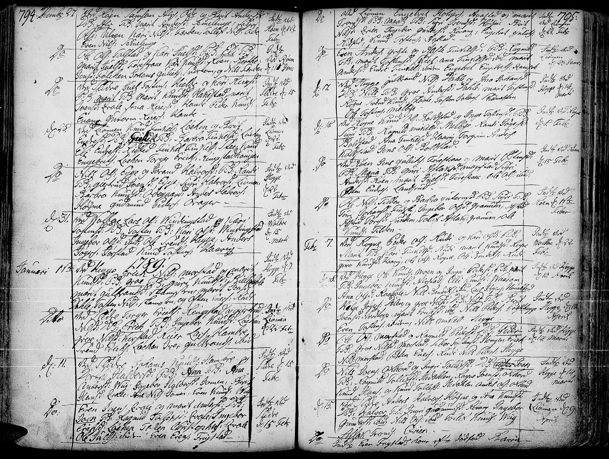 SAH, Slidre prestekontor, Ministerialbok nr. 1, 1724-1814, s. 794-795