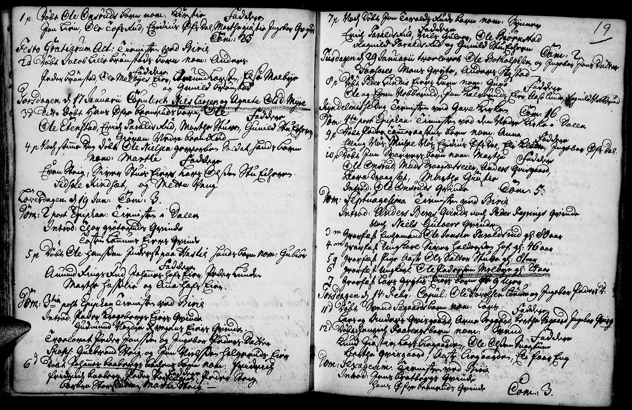 SAH, Biri prestekontor, Ministerialbok nr. 1, 1730-1754, s. 19