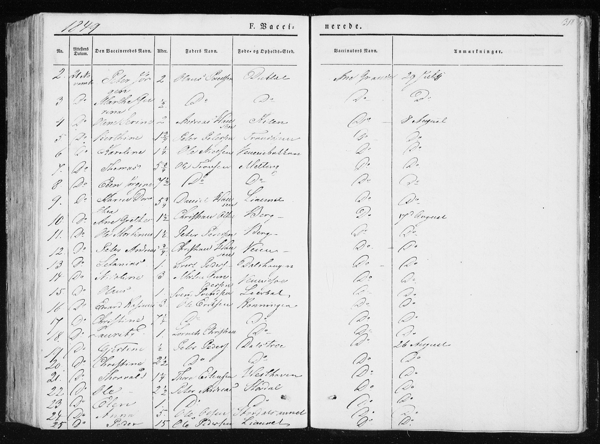 SAT, Ministerialprotokoller, klokkerbøker og fødselsregistre - Nord-Trøndelag, 733/L0323: Ministerialbok nr. 733A02, 1843-1870, s. 318