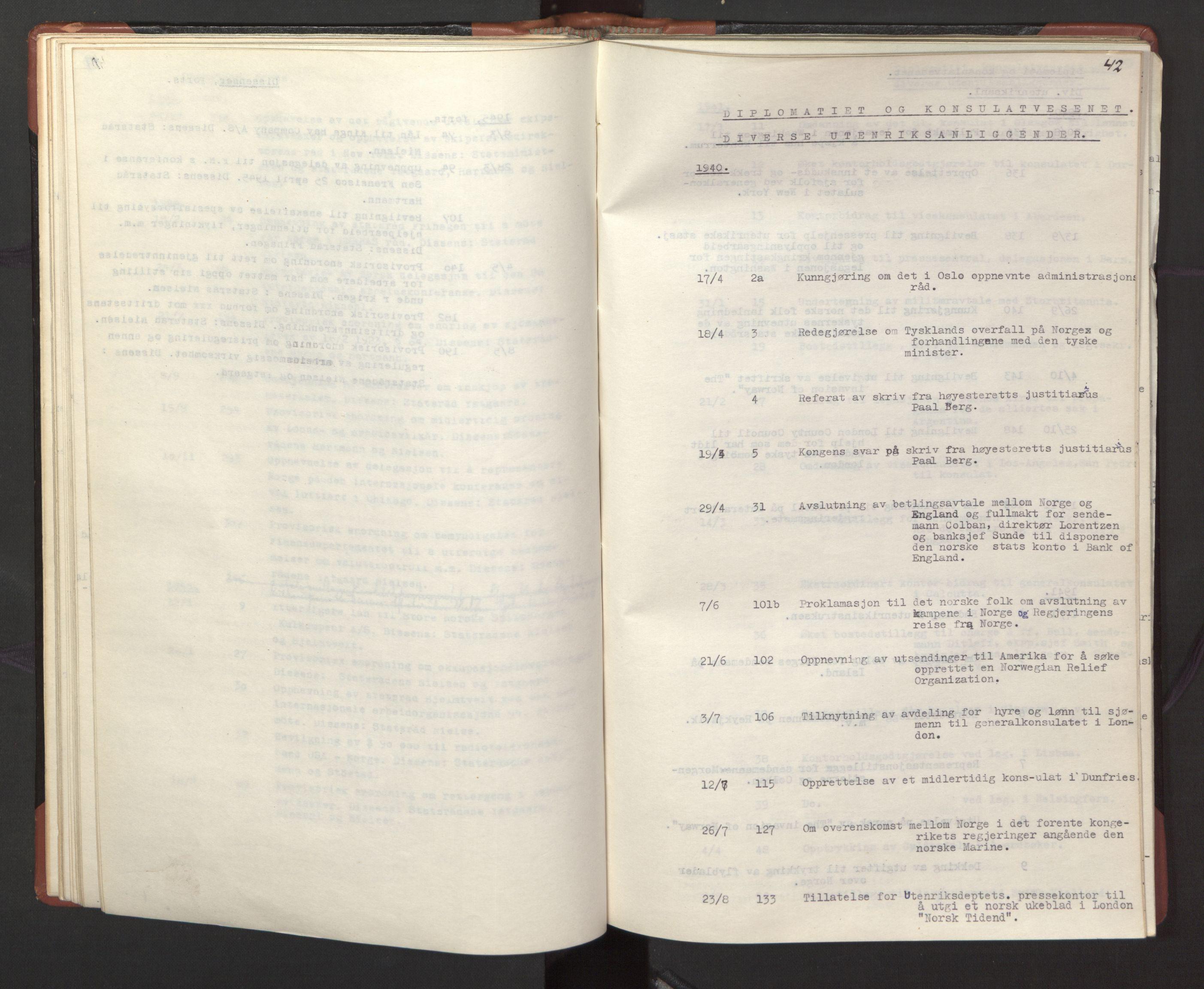 RA, Statsrådssekretariatet, A/Ac/L0127: Register 9/4-25/5, 1940-1945, s. 42