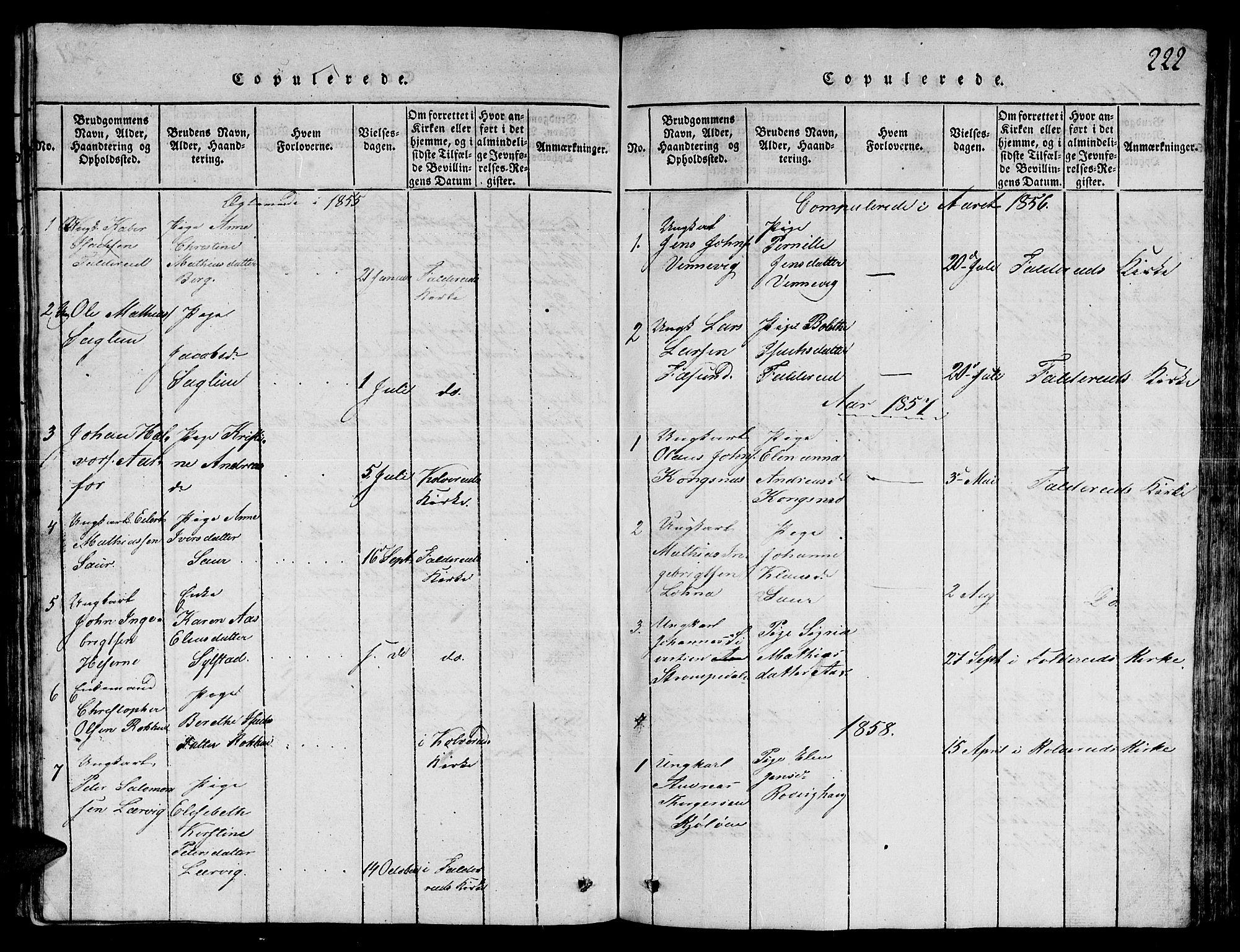SAT, Ministerialprotokoller, klokkerbøker og fødselsregistre - Nord-Trøndelag, 780/L0648: Klokkerbok nr. 780C01 /3, 1815-1877, s. 222