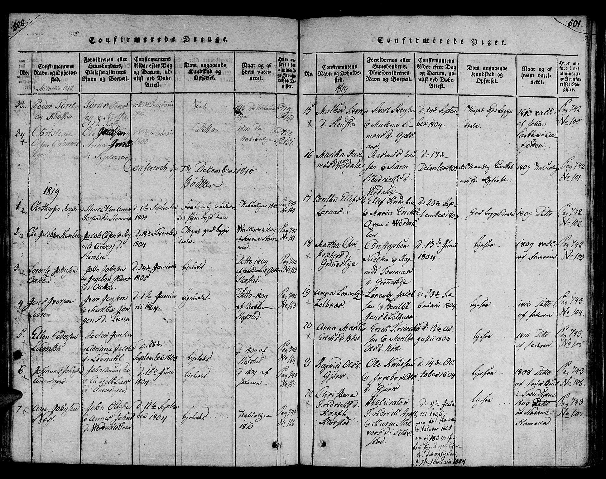 SAT, Ministerialprotokoller, klokkerbøker og fødselsregistre - Nord-Trøndelag, 730/L0275: Ministerialbok nr. 730A04, 1816-1822, s. 500-501