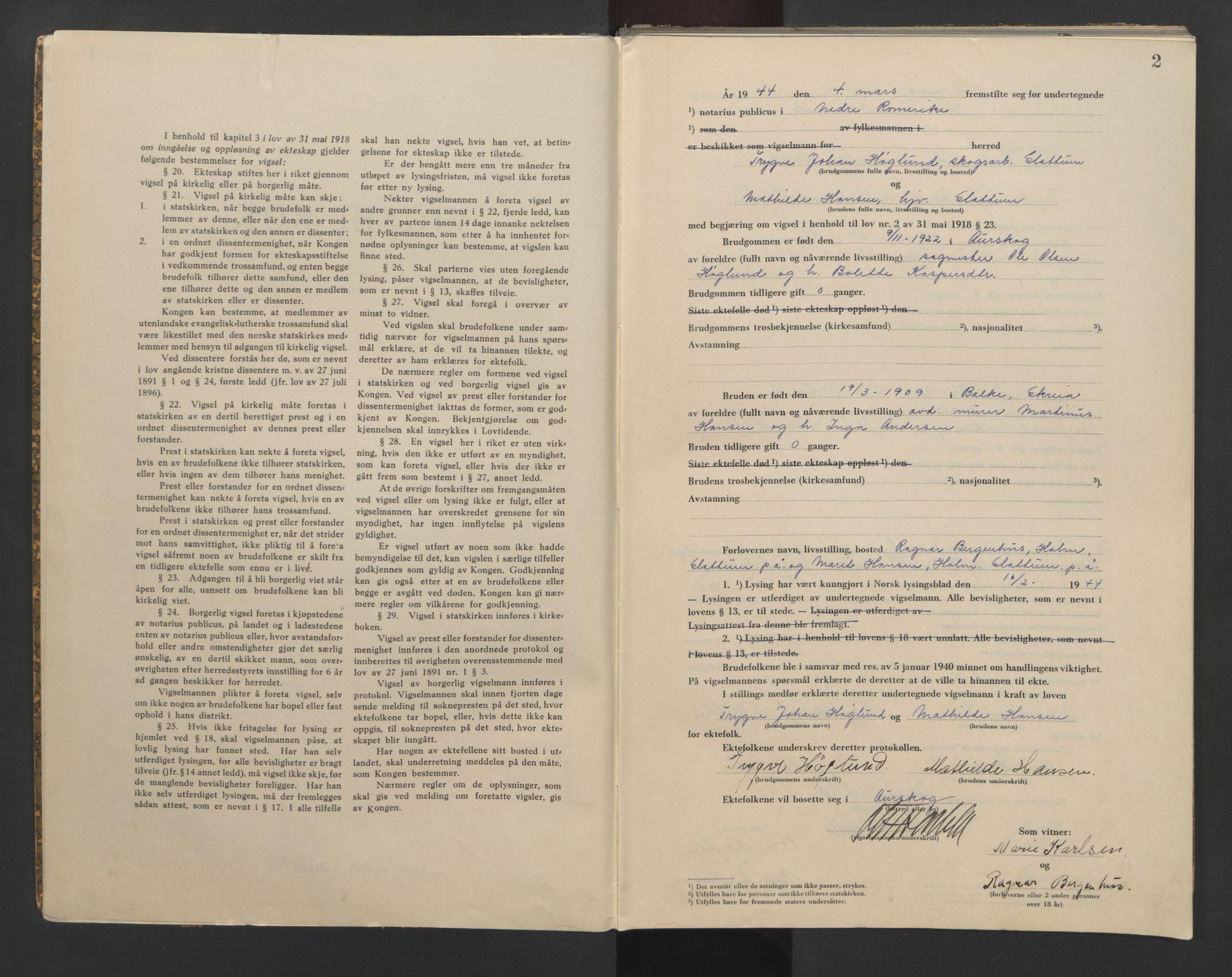 SAO, Nedre Romerike sorenskriveri, L/Lb/L0005: Vigselsbok - borgerlige vielser, 1944, s. 2