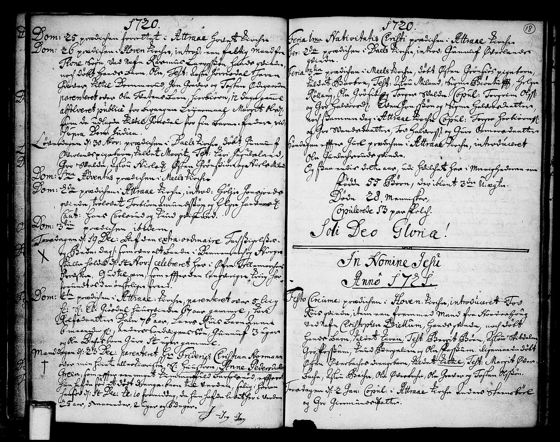 SAKO, Tinn kirkebøker, F/Fa/L0001: Ministerialbok nr. I 1, 1717-1734, s. 18