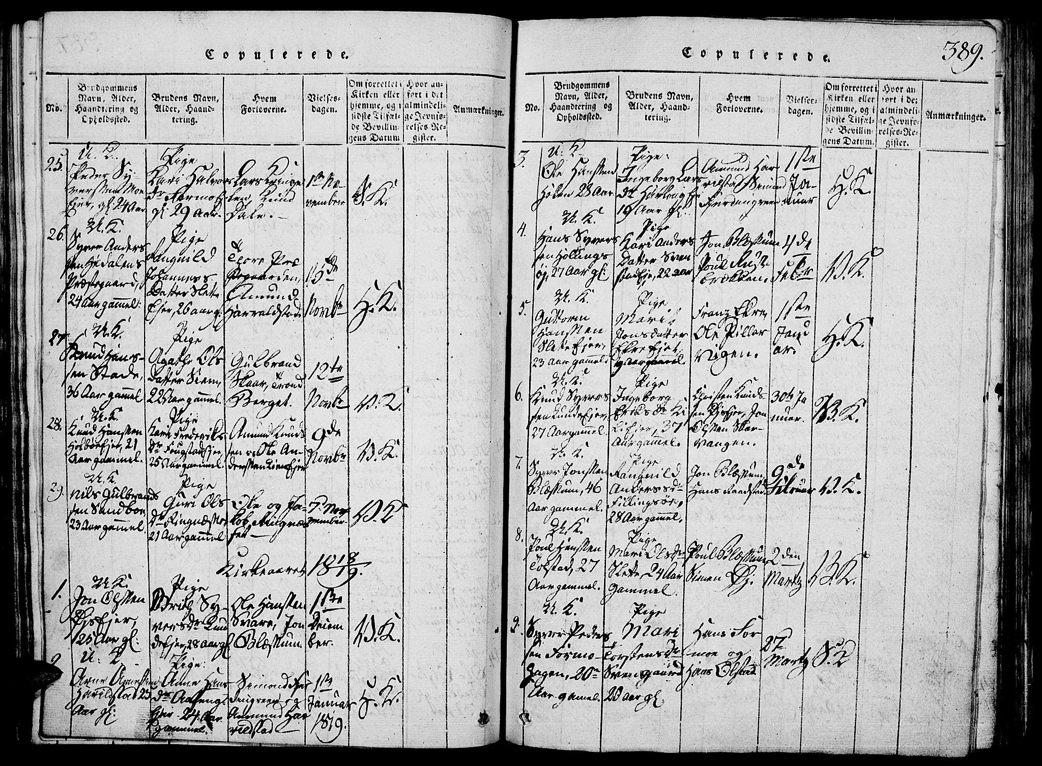 SAH, Vågå prestekontor, Klokkerbok nr. 1, 1815-1827, s. 388-389
