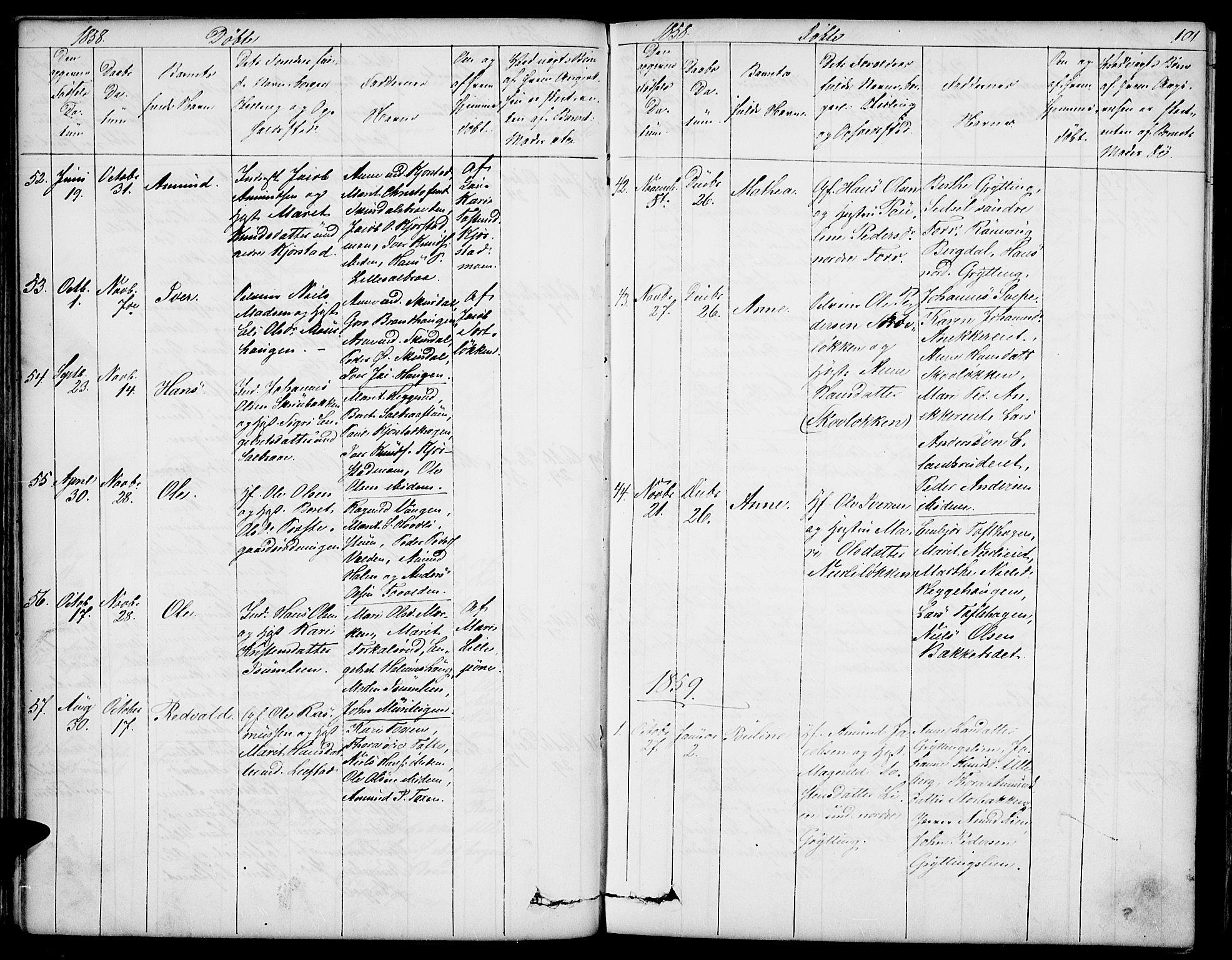 SAH, Sør-Fron prestekontor, H/Ha/Hab/L0001: Klokkerbok nr. 1, 1844-1863, s. 101