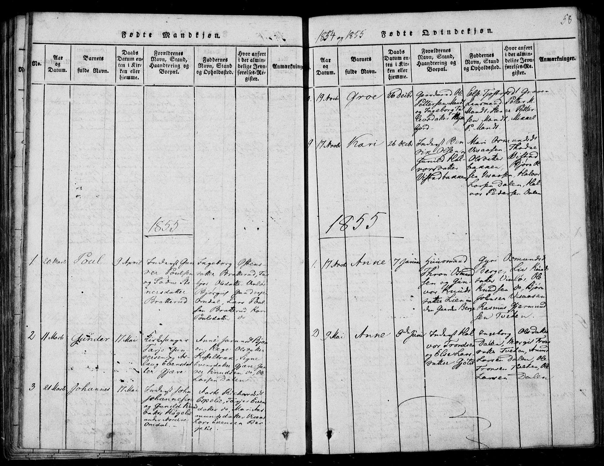 SAKO, Lårdal kirkebøker, F/Fb/L0001: Ministerialbok nr. II 1, 1815-1860, s. 58
