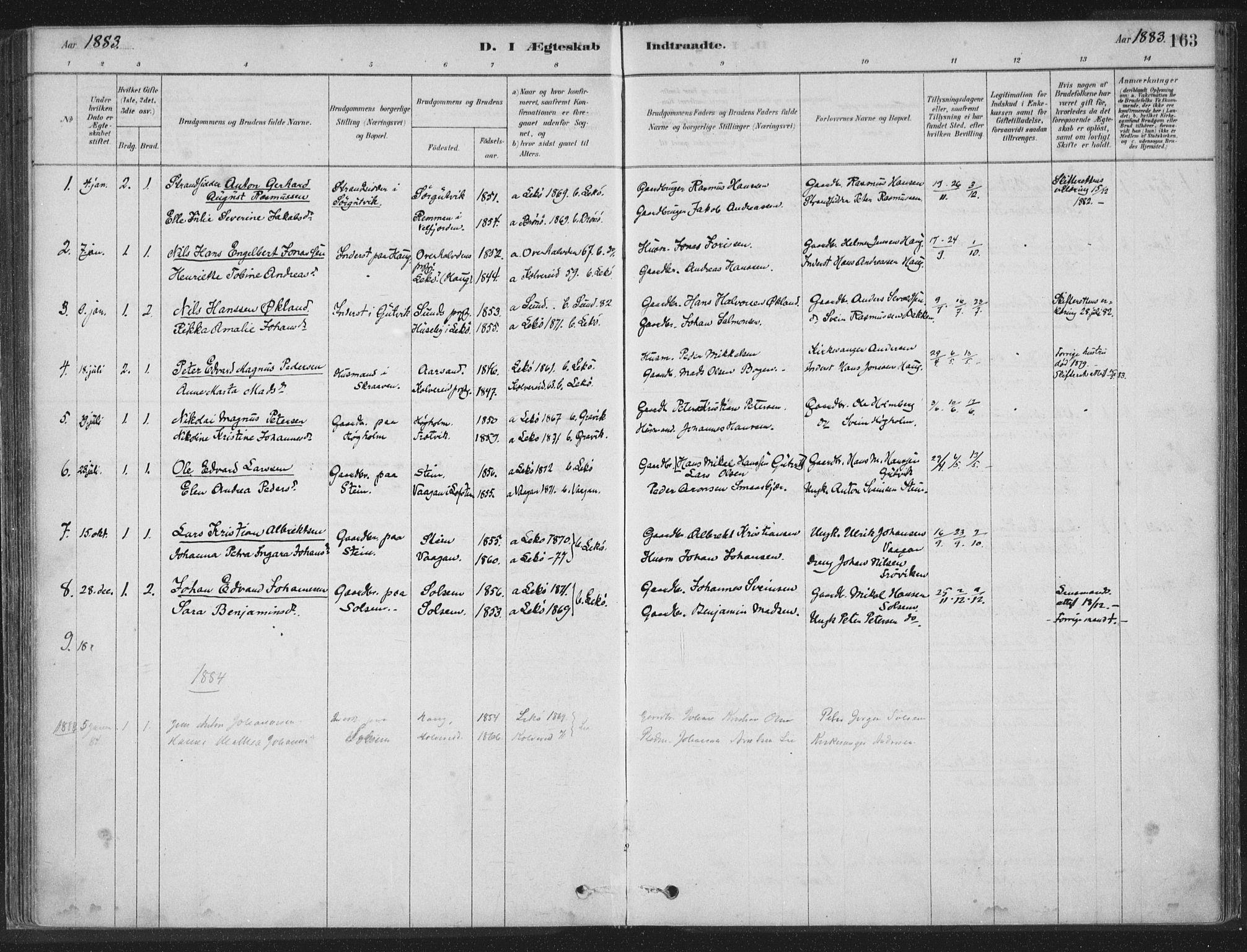 SAT, Ministerialprotokoller, klokkerbøker og fødselsregistre - Nord-Trøndelag, 788/L0697: Ministerialbok nr. 788A04, 1878-1902, s. 163