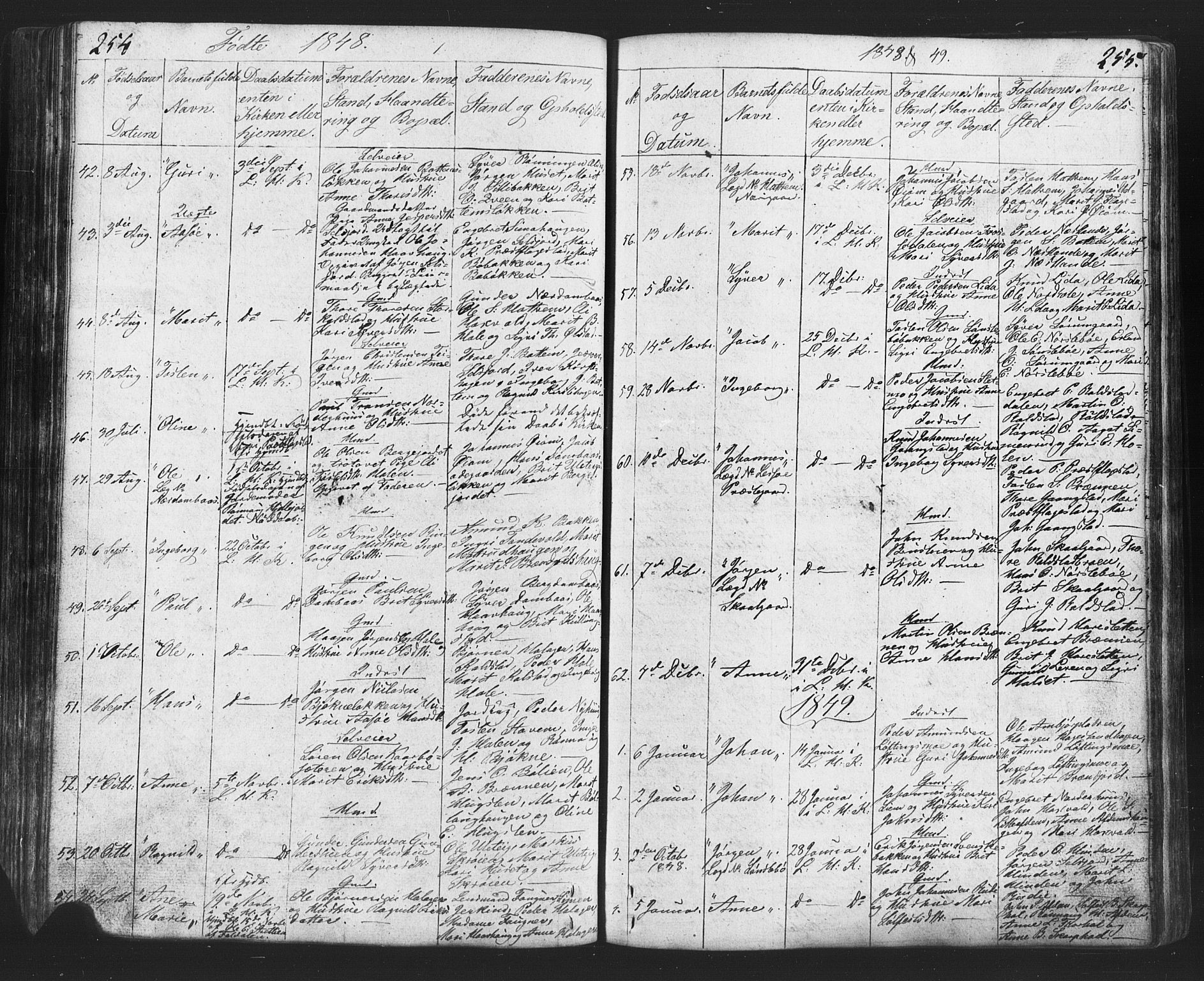 SAH, Lesja prestekontor, Klokkerbok nr. 2, 1832-1850, s. 254-255