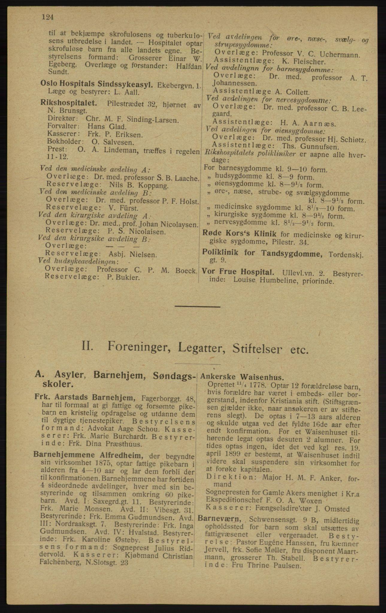RA, Kristiania adressebok (publikasjon)*, 1913, s. 124