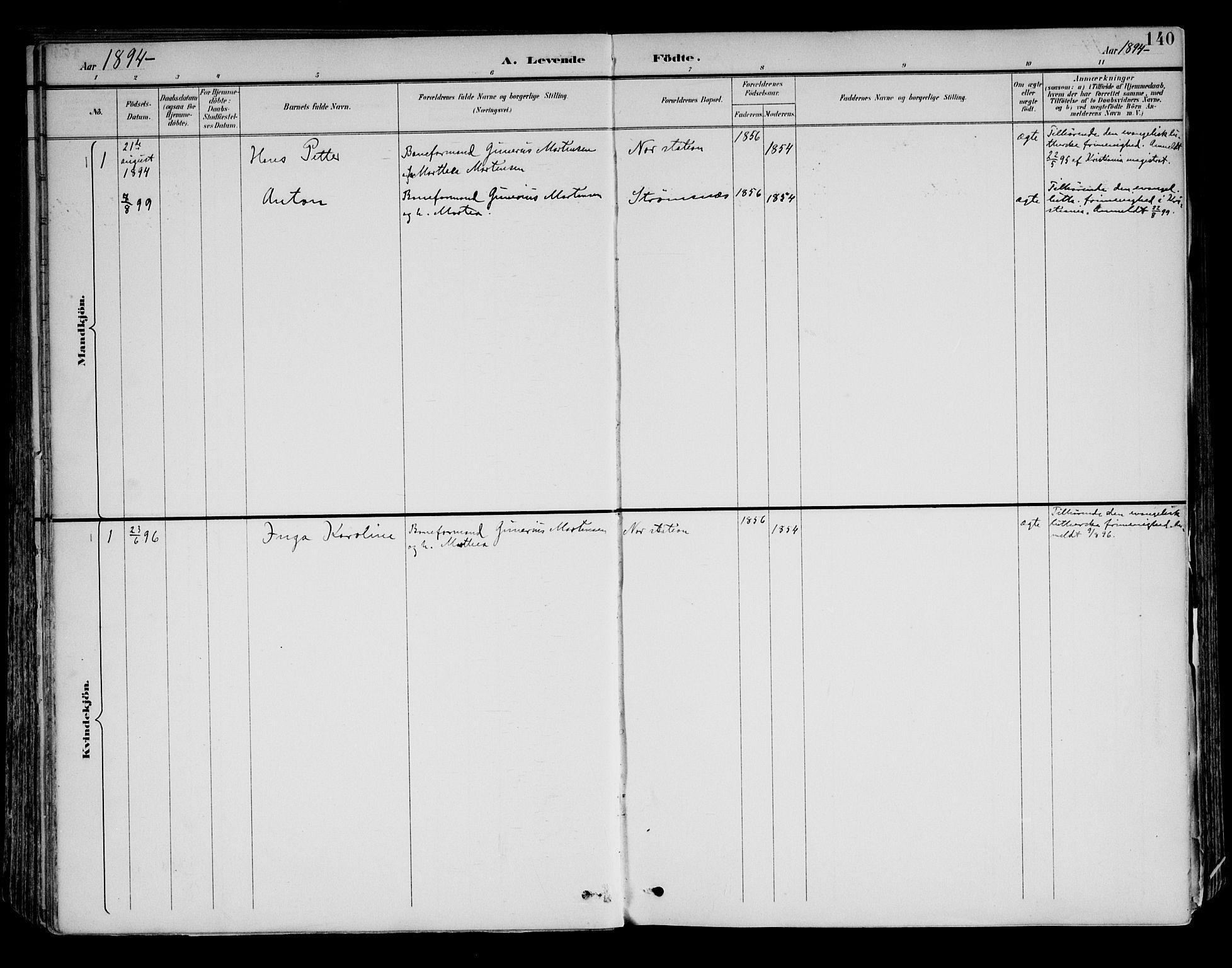 SAH, Brandval prestekontor, H/Ha/Haa/L0003: Ministerialbok nr. 3, 1894-1909, s. 140