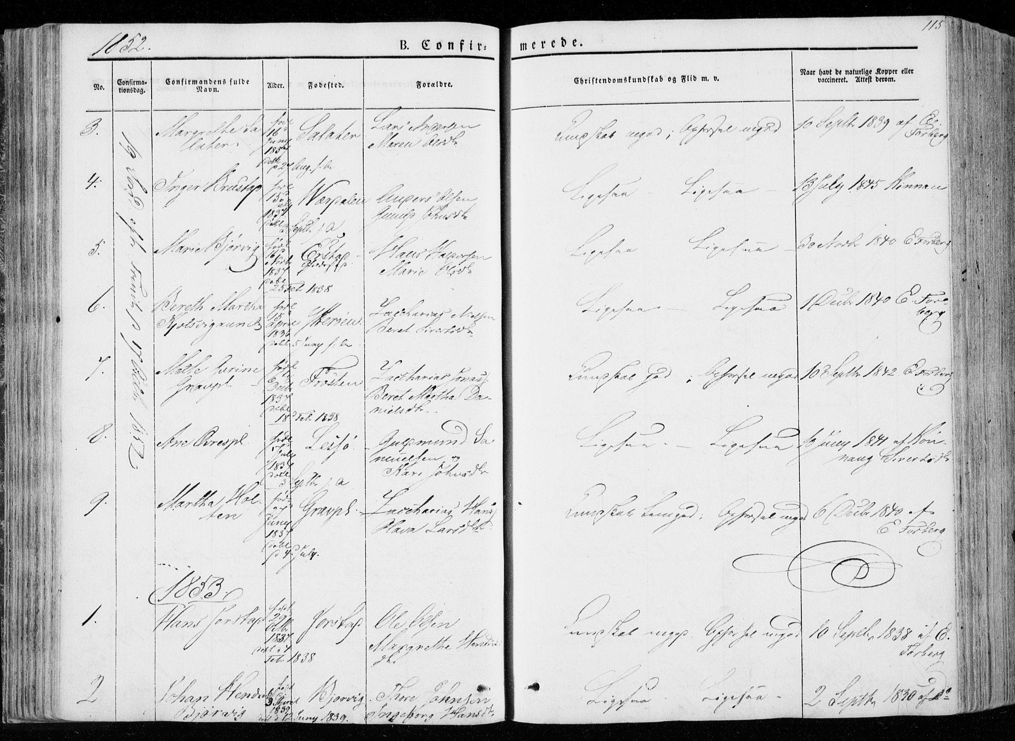 SAT, Ministerialprotokoller, klokkerbøker og fødselsregistre - Nord-Trøndelag, 722/L0218: Ministerialbok nr. 722A05, 1843-1868, s. 115
