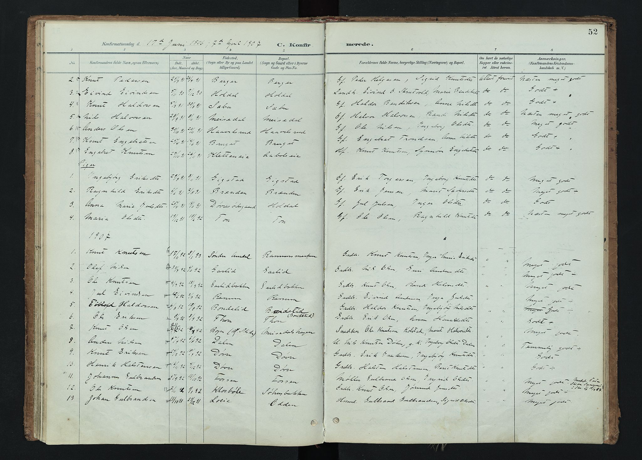 SAH, Nord-Aurdal prestekontor, Ministerialbok nr. 15, 1896-1914, s. 52