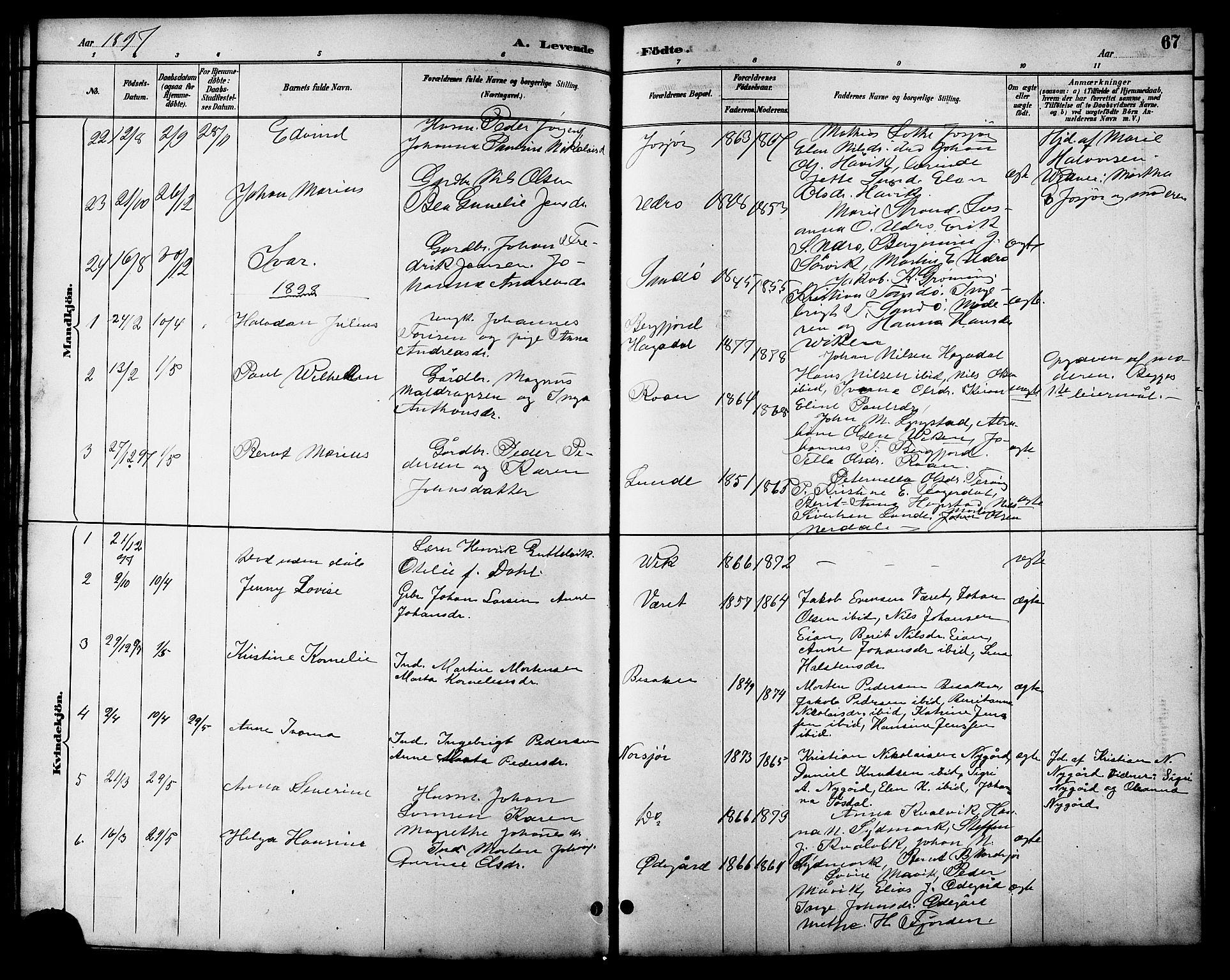 SAT, Ministerialprotokoller, klokkerbøker og fødselsregistre - Sør-Trøndelag, 657/L0716: Klokkerbok nr. 657C03, 1889-1904, s. 67