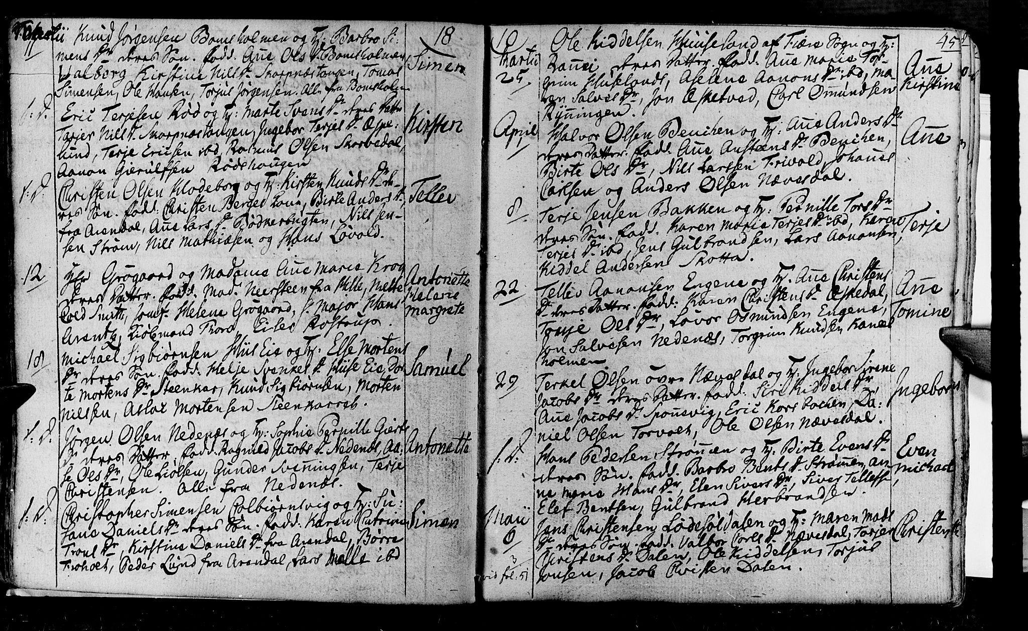 SAK, Øyestad sokneprestkontor, F/Fa/L0011: Ministerialbok nr. A 11, 1805-1824, s. 45