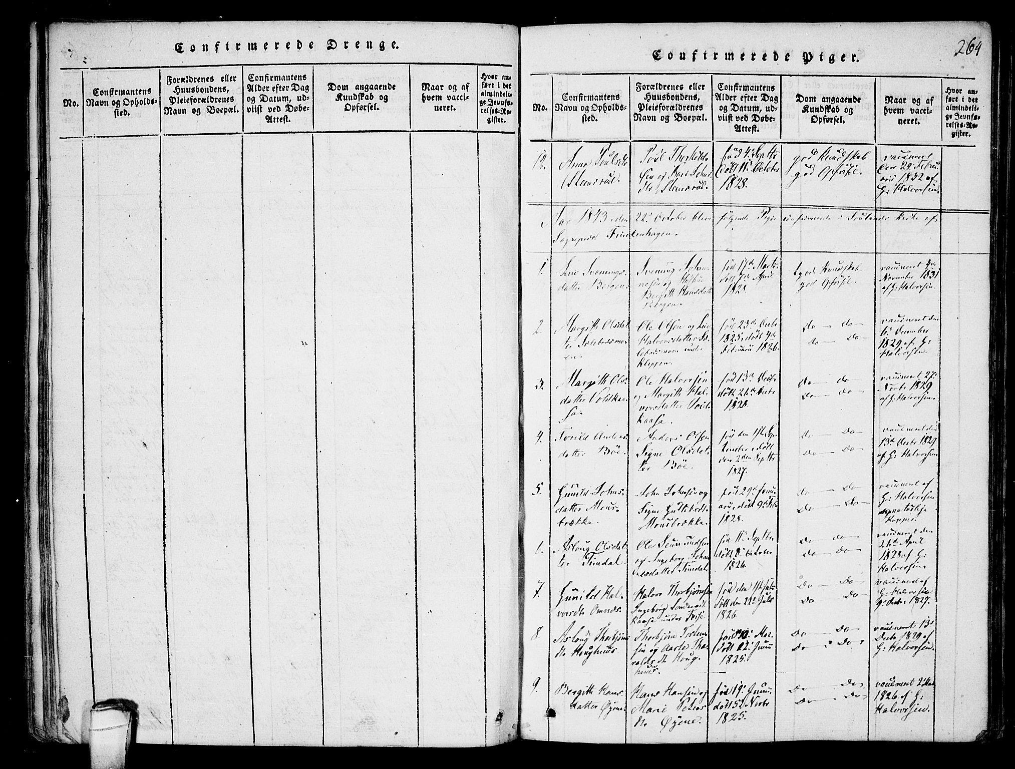 SAKO, Hjartdal kirkebøker, F/Fb/L0001: Ministerialbok nr. II 1, 1815-1843, s. 264