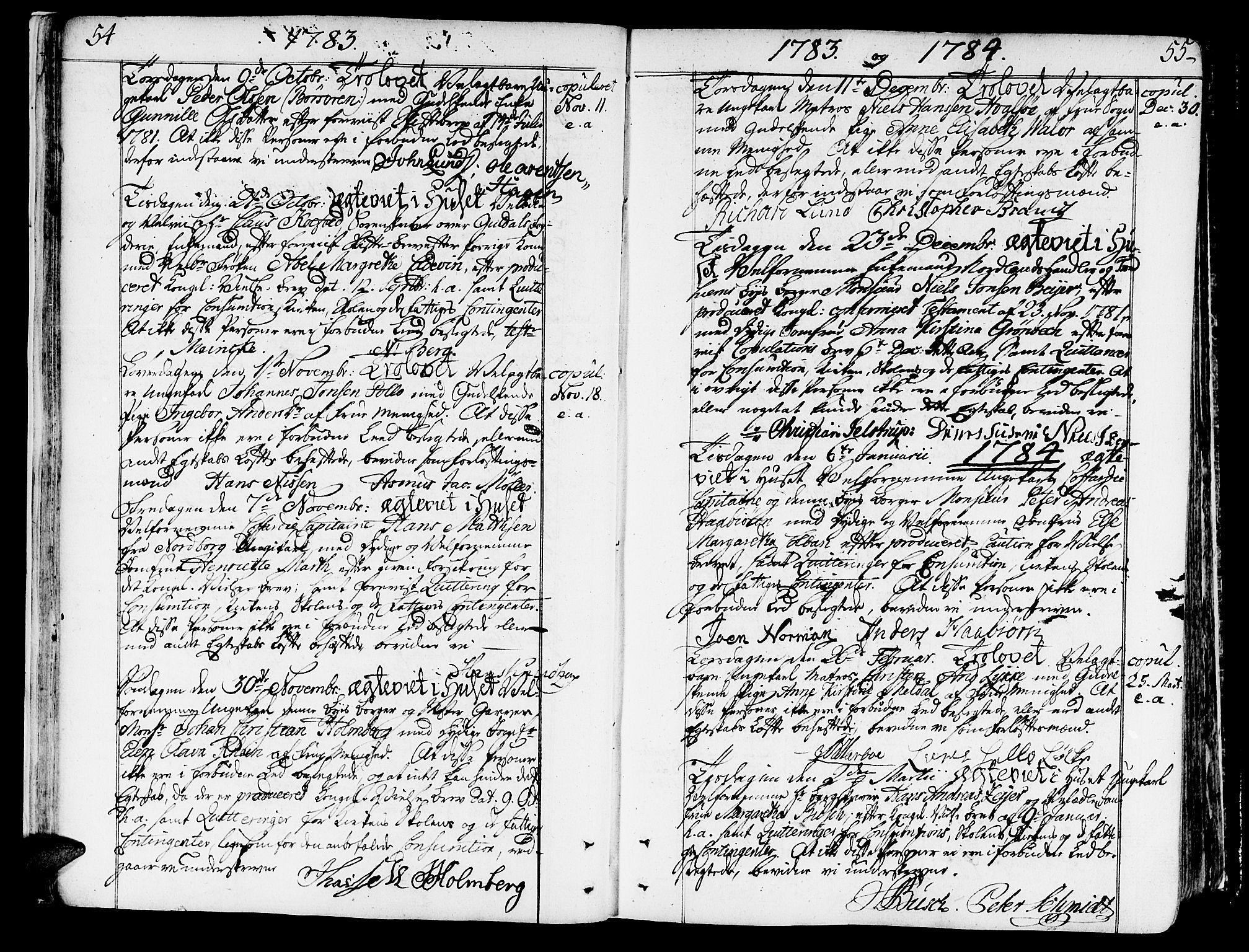SAT, Ministerialprotokoller, klokkerbøker og fødselsregistre - Sør-Trøndelag, 602/L0105: Ministerialbok nr. 602A03, 1774-1814, s. 54-55