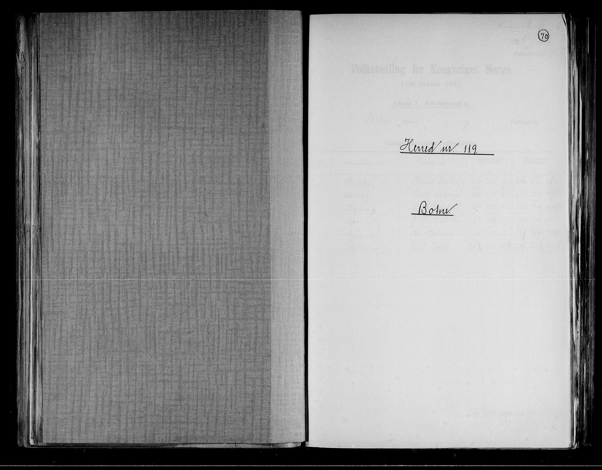 RA, Folketelling 1891 for 0715 Botne herred, 1891, s. 1