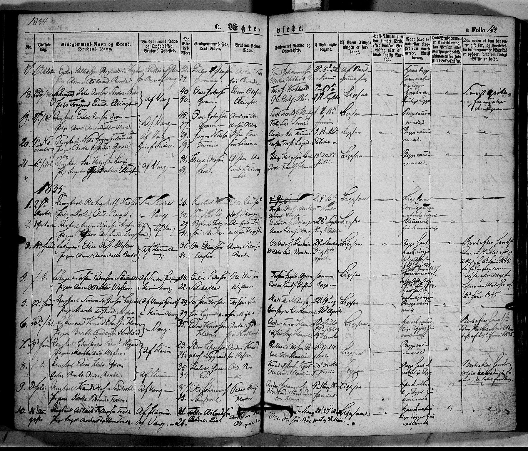 SAH, Vang prestekontor, Valdres, Ministerialbok nr. 5, 1831-1845, s. 124