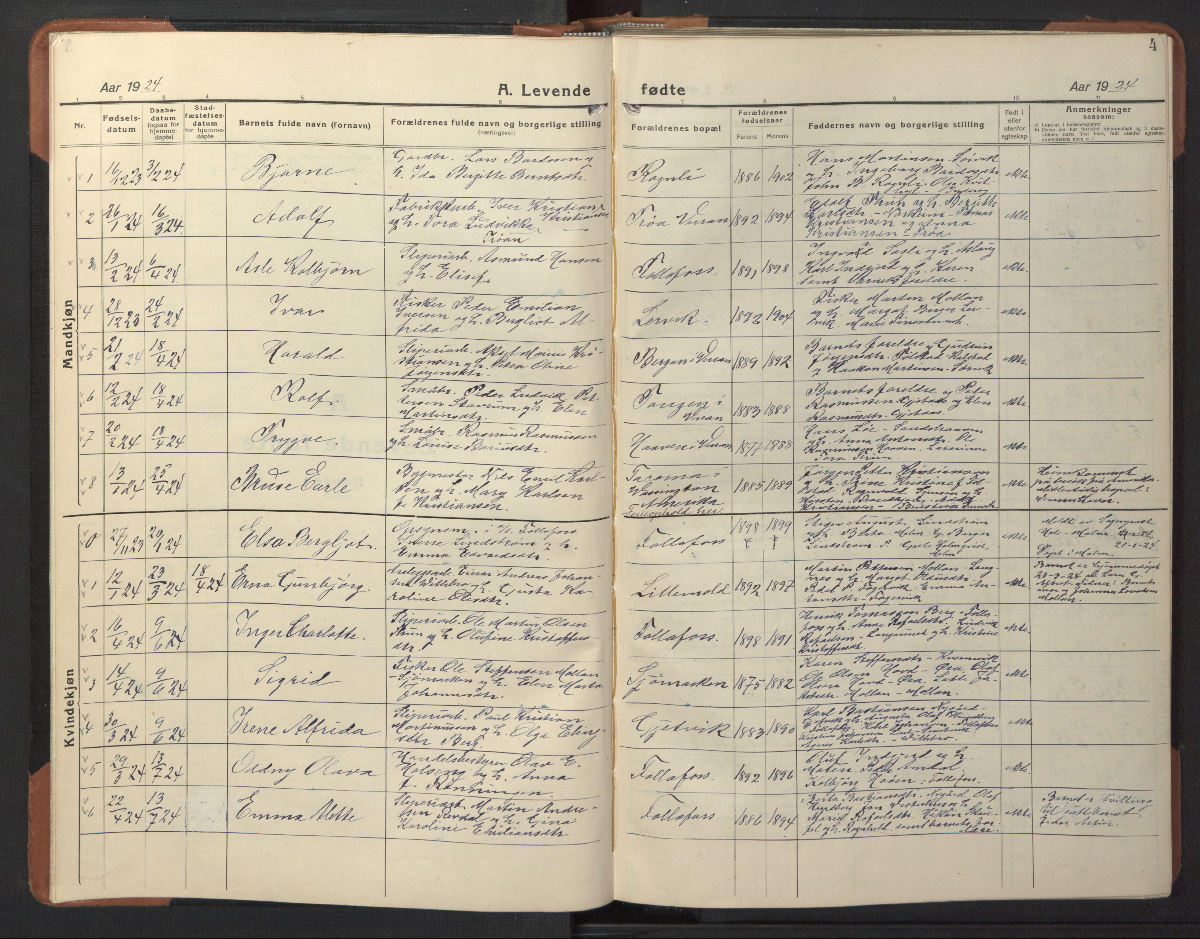 SAT, Ministerialprotokoller, klokkerbøker og fødselsregistre - Nord-Trøndelag, 744/L0425: Klokkerbok nr. 744C04, 1924-1947, s. 4