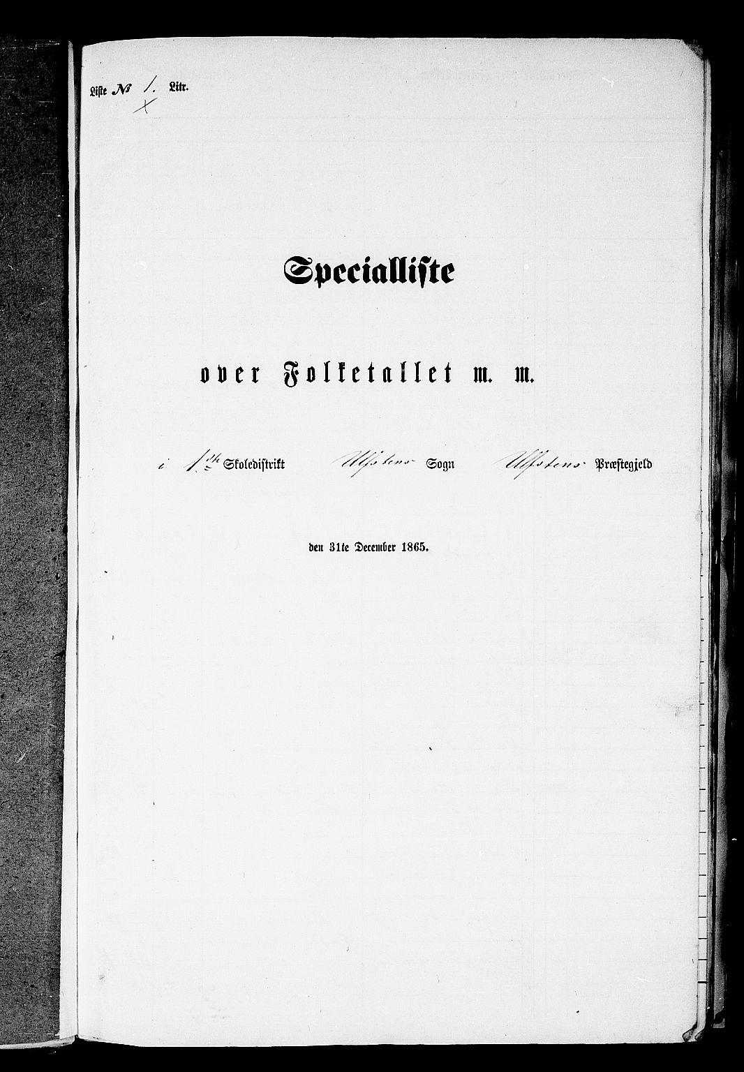 RA, Folketelling 1865 for 1516P Ulstein prestegjeld, 1865, s. 11